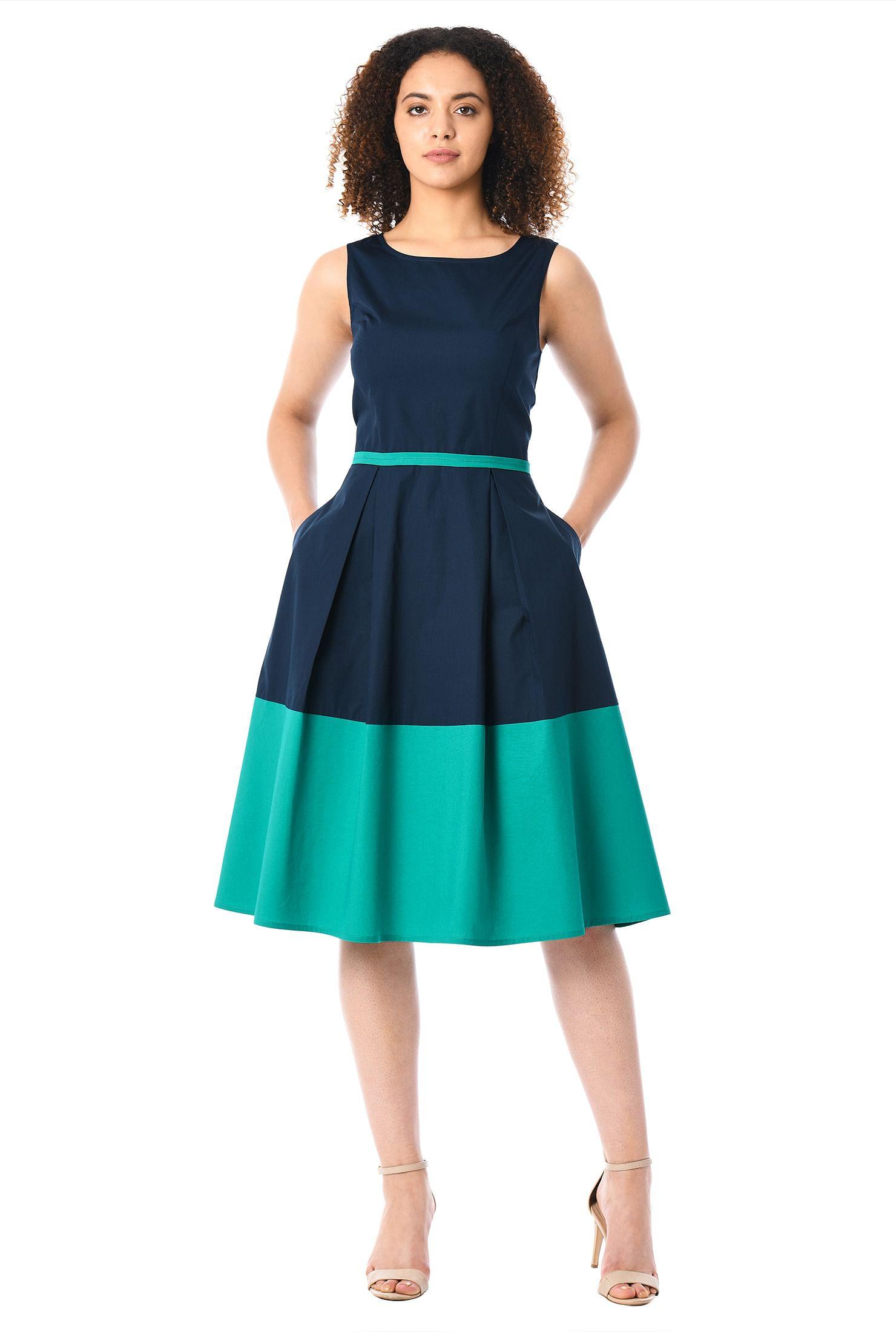 73bf5208d09 below knee length dresses, Colorblock Dresses, cotton poplin dresses, Deep  navy/
