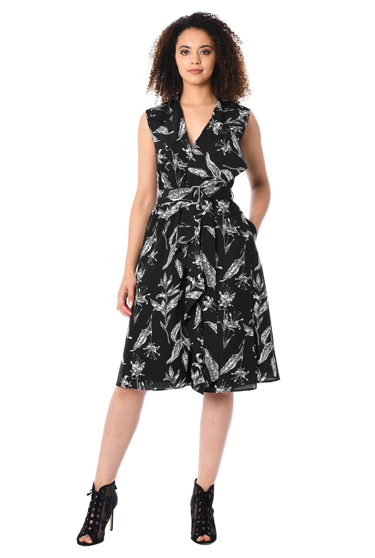 Black and white knee length dresses