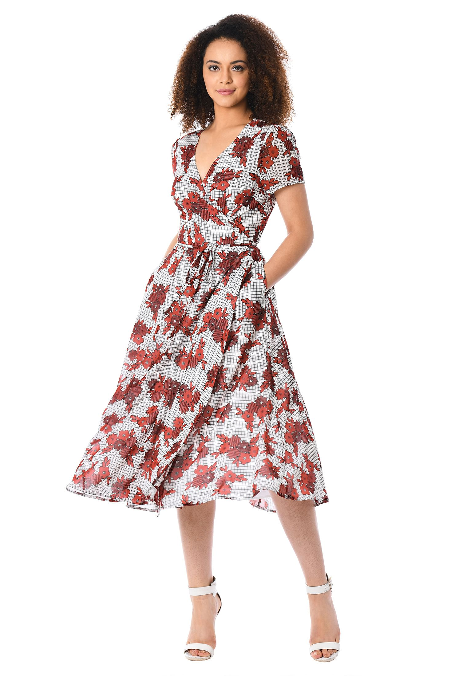 Floral Check Print Georgette Midi Wrap Dress by Eshakti