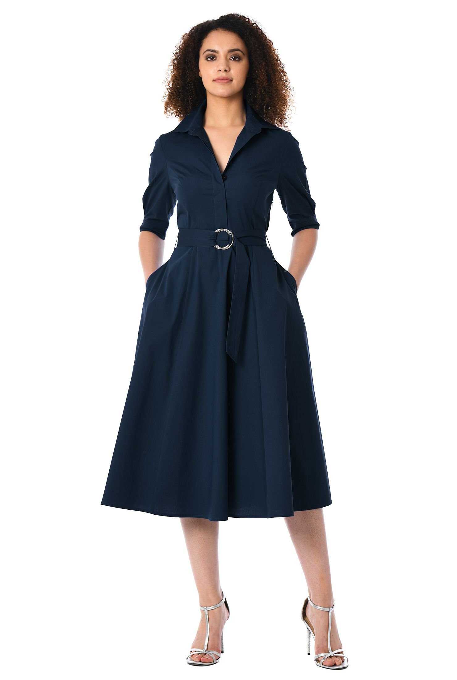 af1cd7288ad ... Midi Shirt Dress With Pocket. Belted Dresses Cotton Spandex Deep Navy  Elbow Length Sleeve. Women S Fashion Clothing 0 36w And Custom