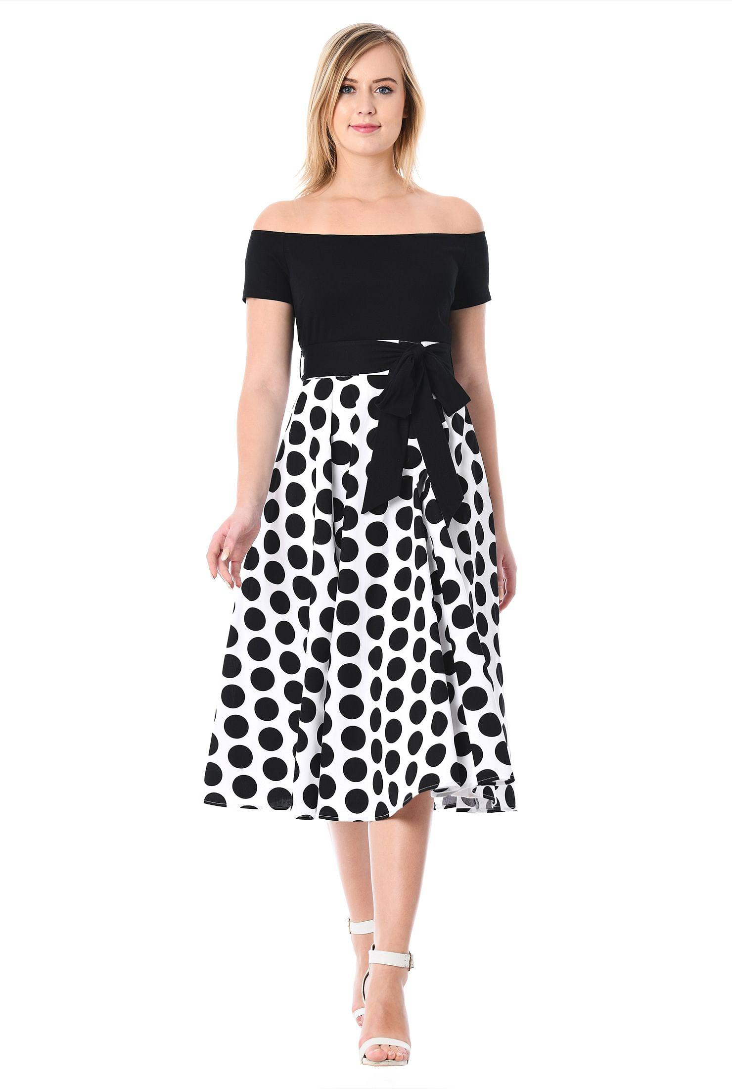 Off The Shoulder Polka Dot Print Mixed Media Dress