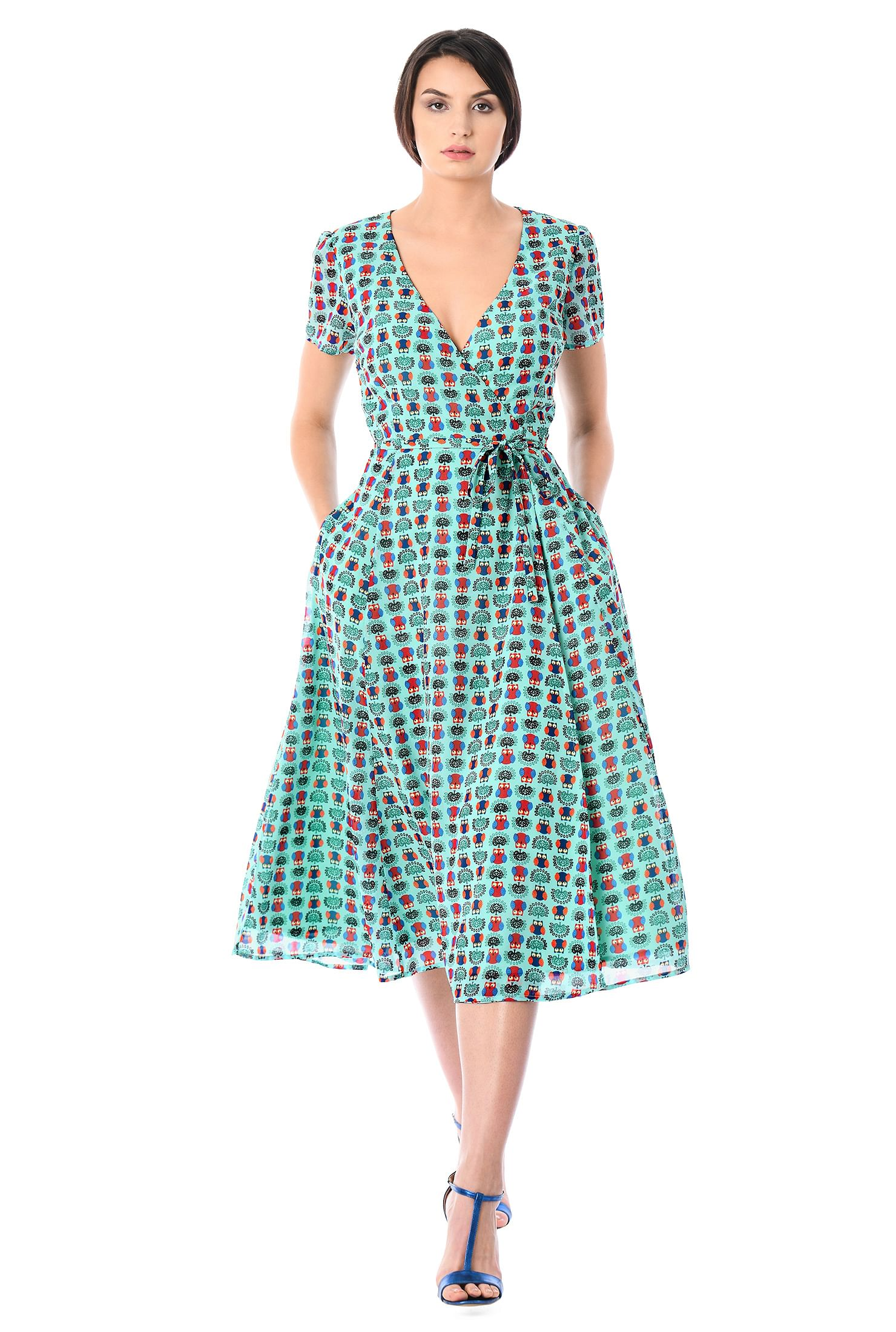 ", 2"" below mid-calf length dresses, lightweight Dresses, machine wash dresses, midi dresses, mint dresses, owl print dresses, pocket dresses, Surplice Dresses, v-neck dresses, wrap dresses"
