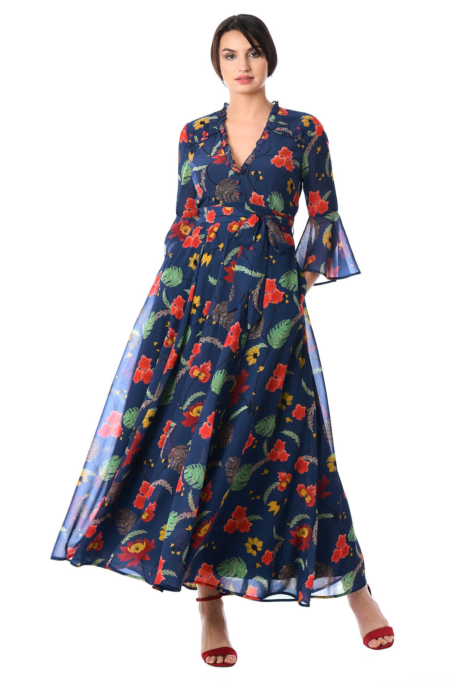 9090d9ac7c Ruffle trim floral print georgette maxi dress