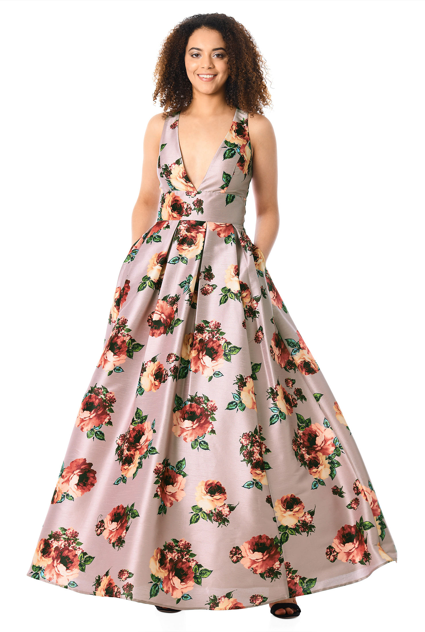 Plunge Rose Print Dupioni Maxi Dress by Eshakti