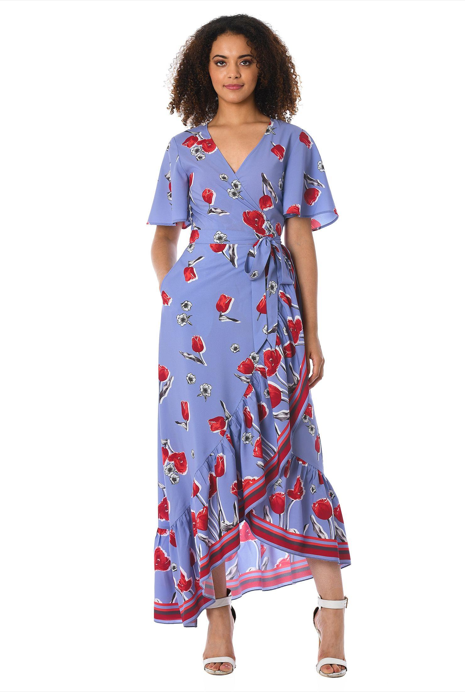9e2cf56a29dac ... Ruffle tulip print crepe wrap dress. , asymmetric hem dresses, cap  sleeve dresses, crepe dresses, day dresses, lightweight