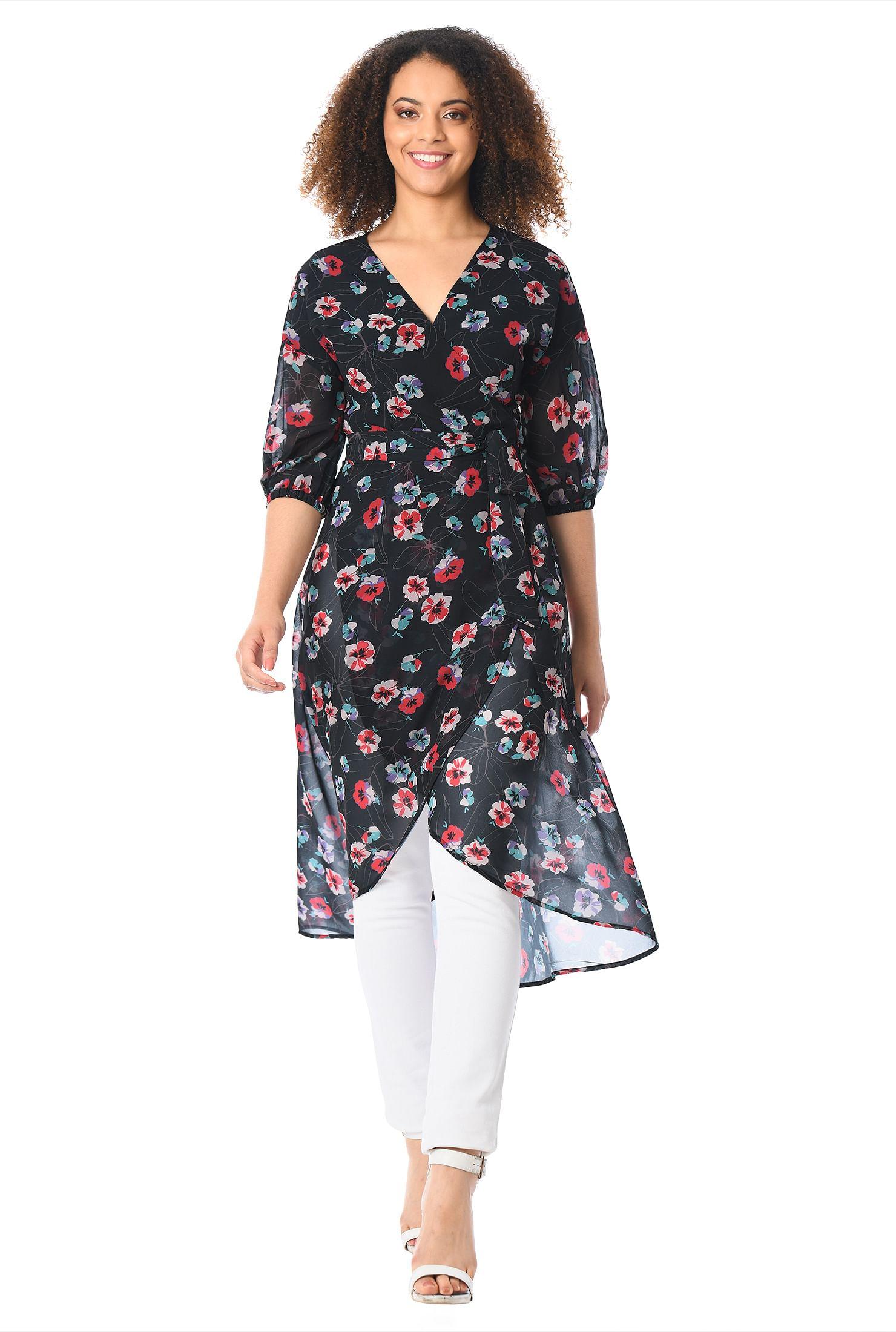 50812514 below the elbow length sleeve tops, black multi tops, Floral Print Tops,