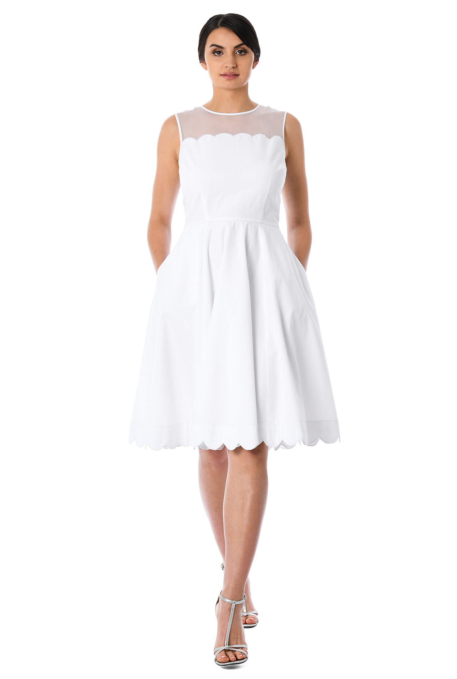 93adc8087c22a back zip dresses, cotton dresses, fit-and-flare dresses, flared