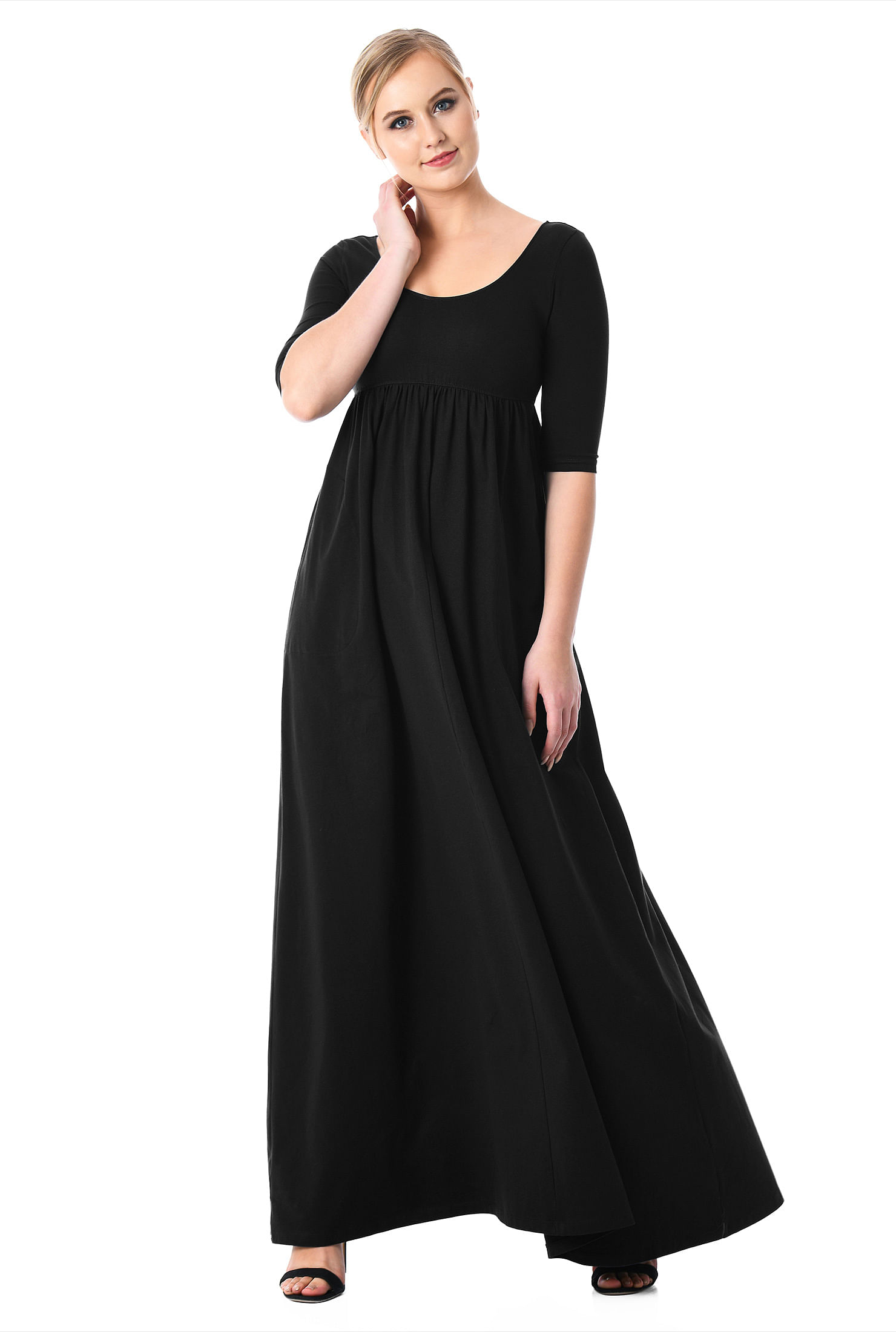 51d970db3908 ... Cotton knit empire maxi dress. , back zip dresses, black dresses,  cotton/spandex Dresses, elbow length sleeve