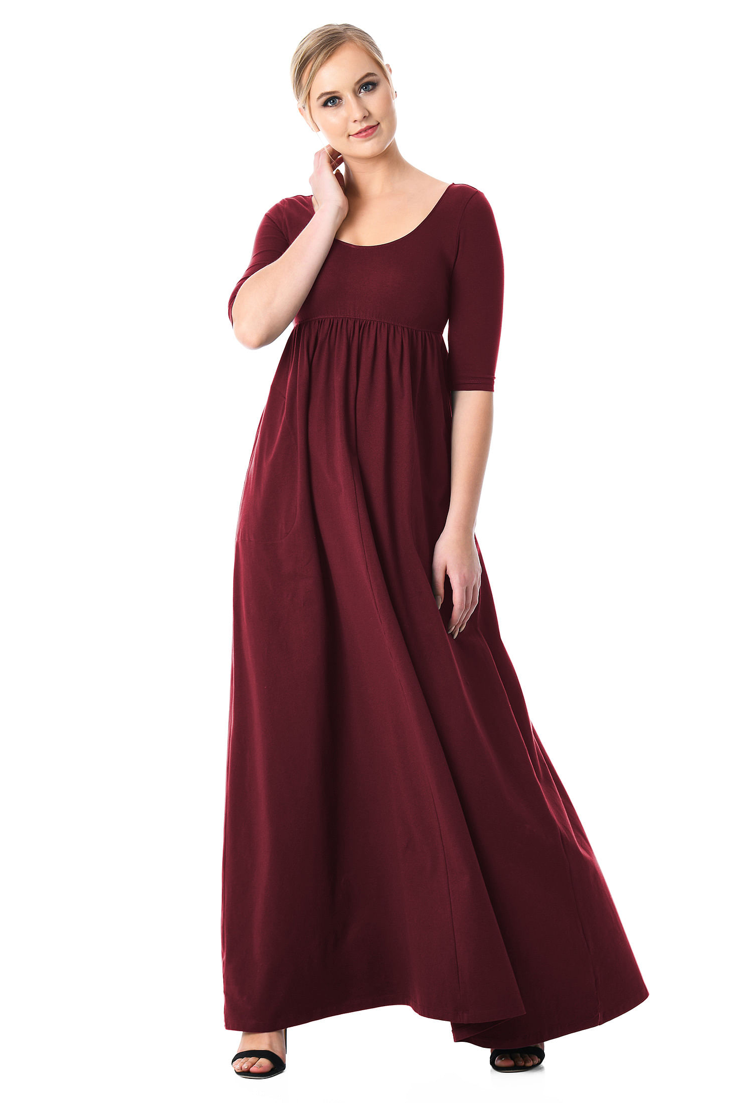 Cotton Knit Empire Maxi Dress by Eshakti