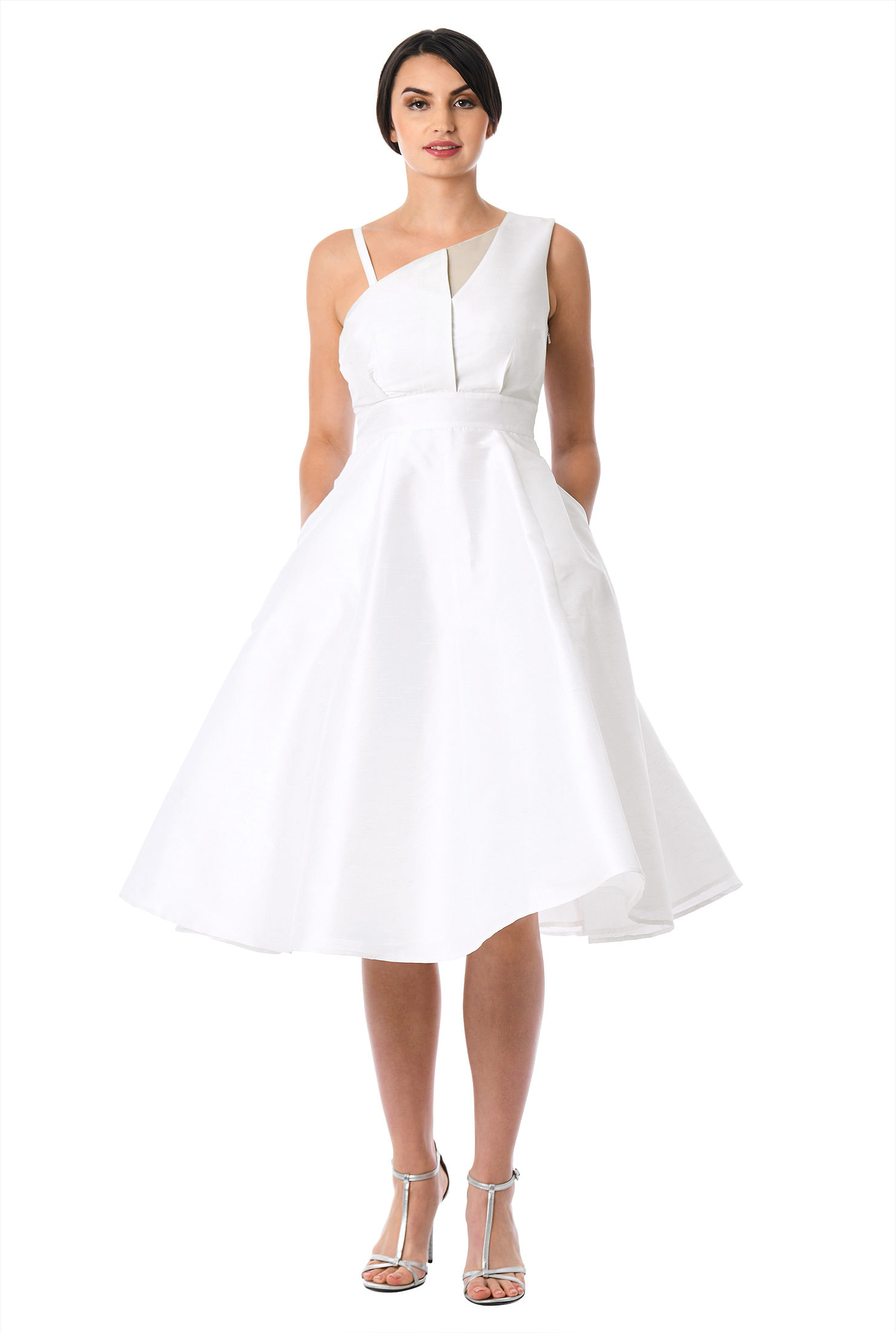 Asymmetric neck dupioni fit-and-flare dress
