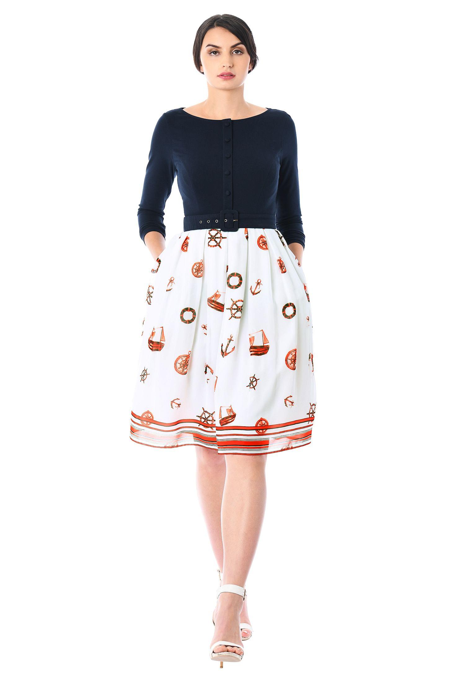 5deb7c33b37c boat neck dresses, box-pleated skirt dresses, Bracelet sleeve dresses,  Colorblock