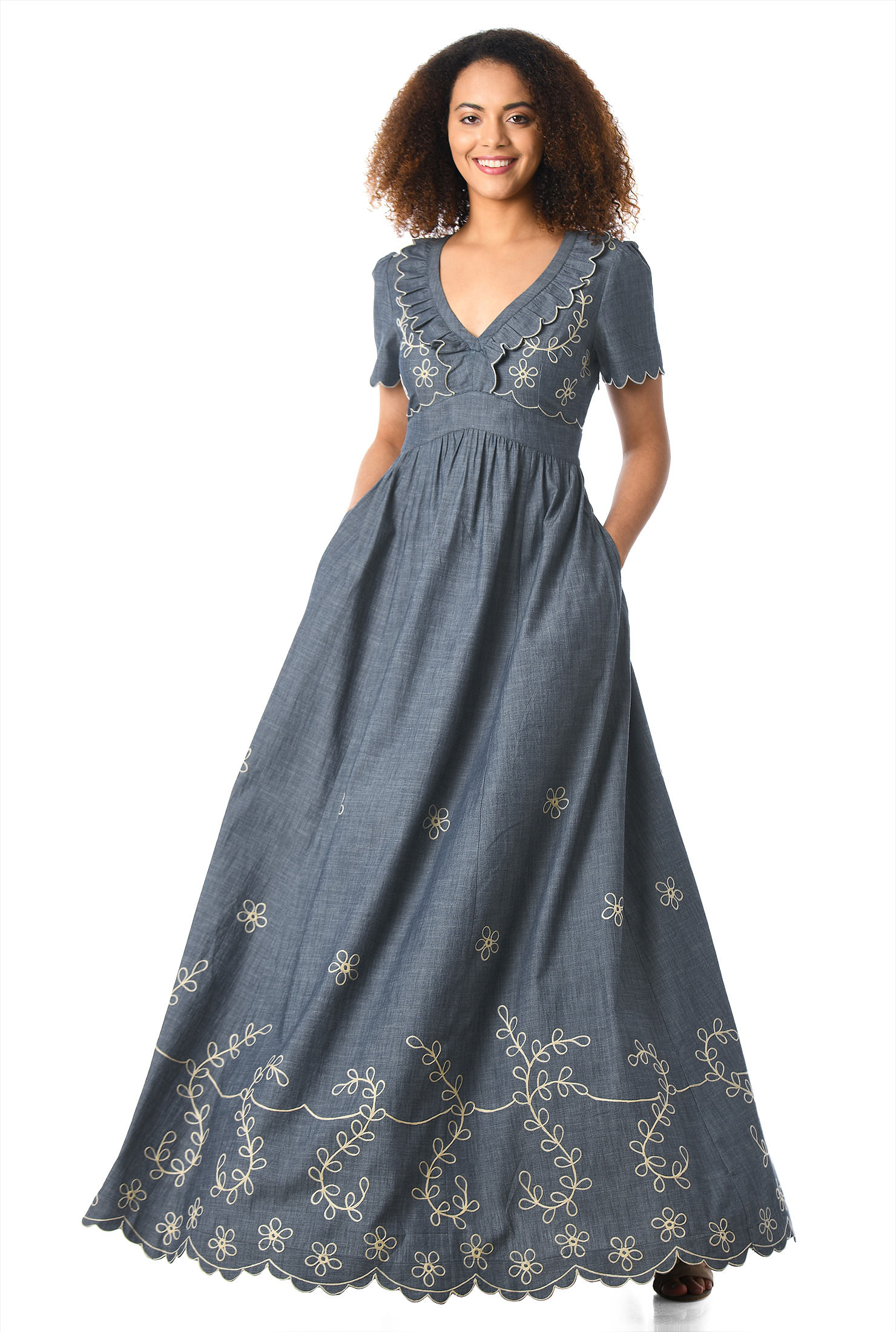 Floral Embellished Cotton Chambray Maxi Dress by Eshakti