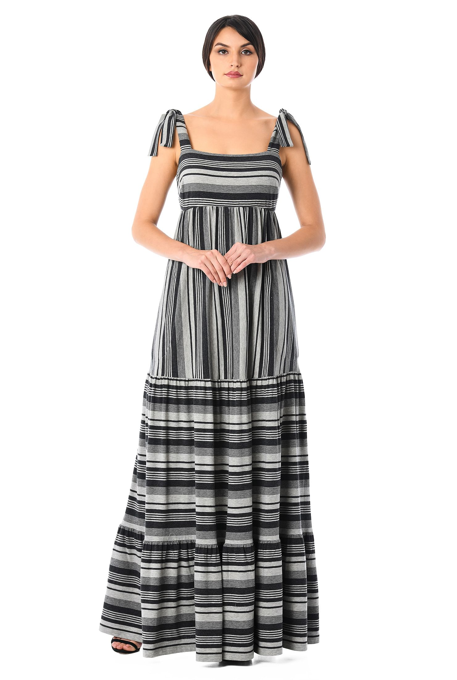 Shoulder ties stripe jersey knit empire maxi dress