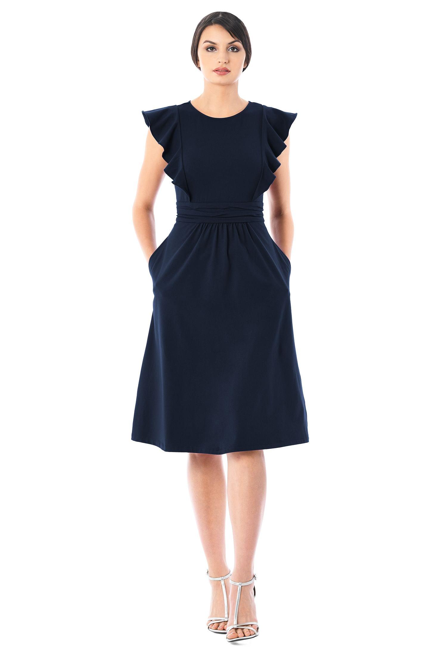 0af4dd17d ... Ruffle sleeves cotton knit dress. , below knee length dresses,  cotton/spandex Dresses, day dresses, Deep Navy