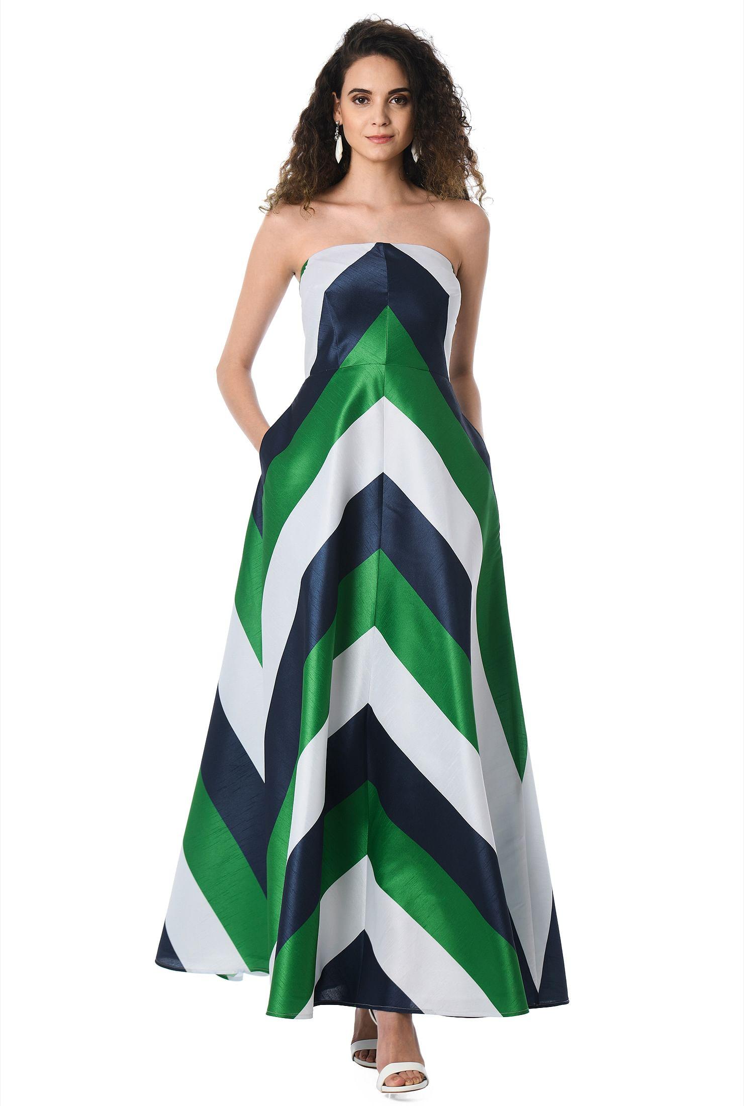 d935ca209cbc black/navy/green dresses, Colorblock Dresses, feminine dresses, full length