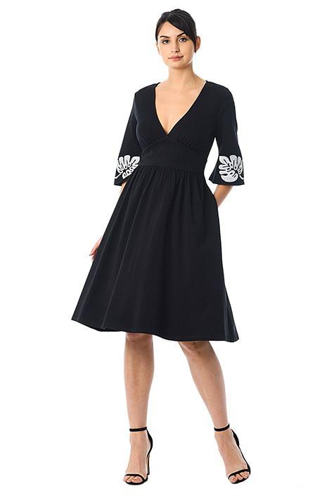 Leaf embellished banded empire cotton knit dress