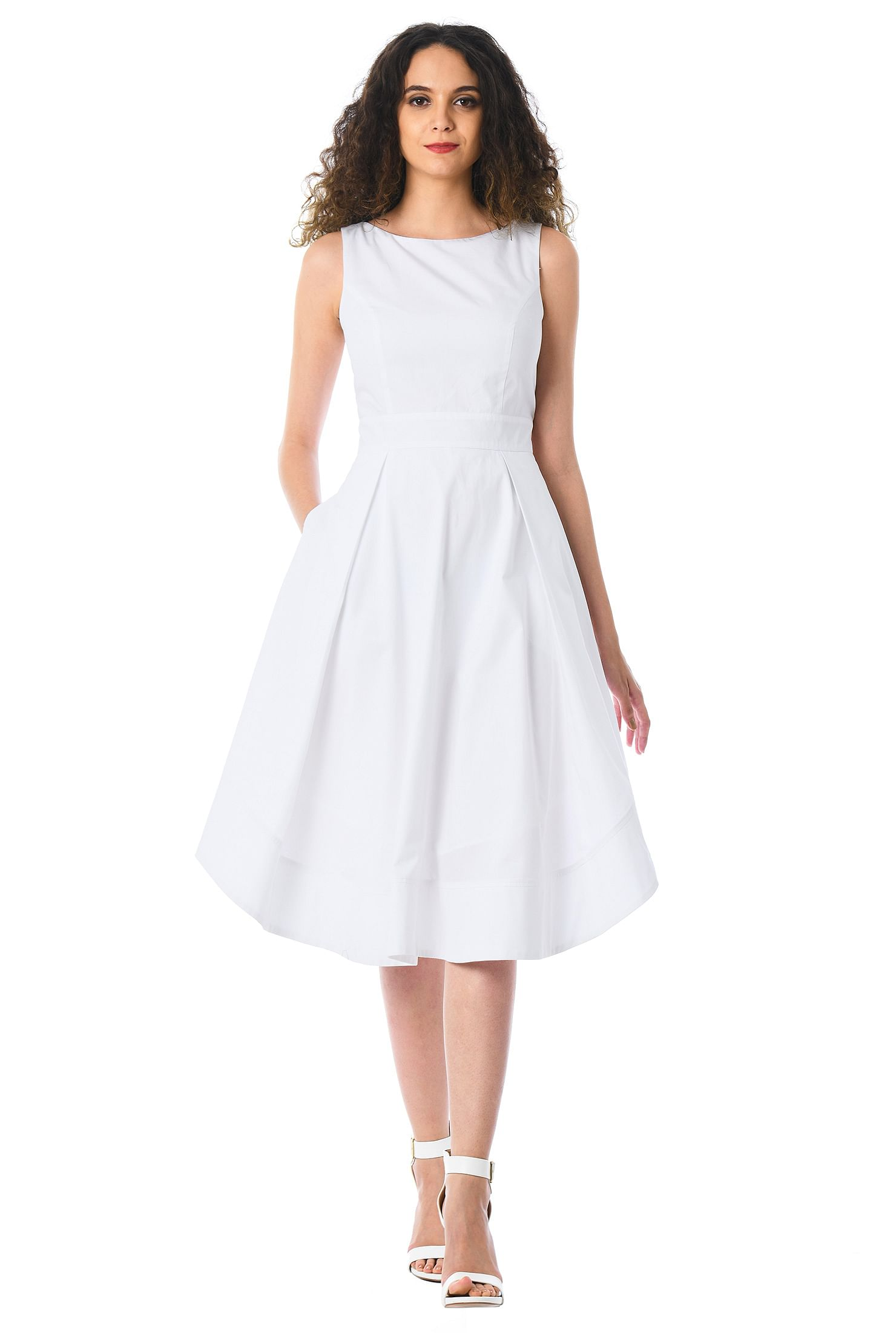 Curved Hem Cotton Poplin Dress by Eshakti