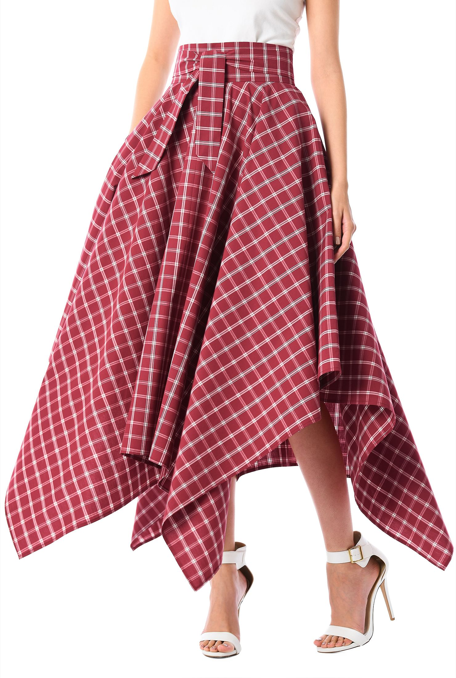 Handkerchief Hem Cotton Check Skirt by Eshakti