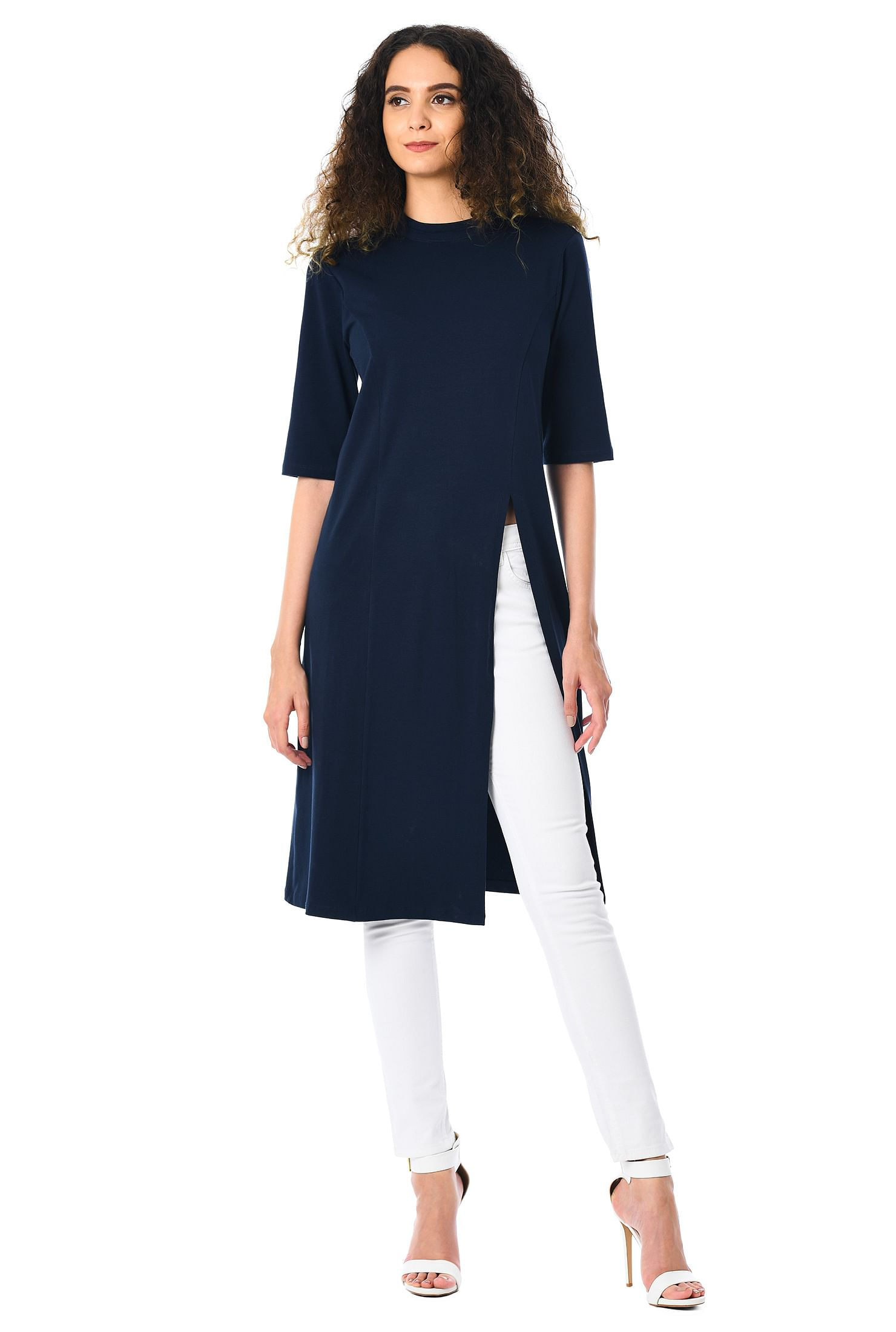 d20379ff319 banded high neck tops, below knee Length tunics, cotton knit tunic, cotton