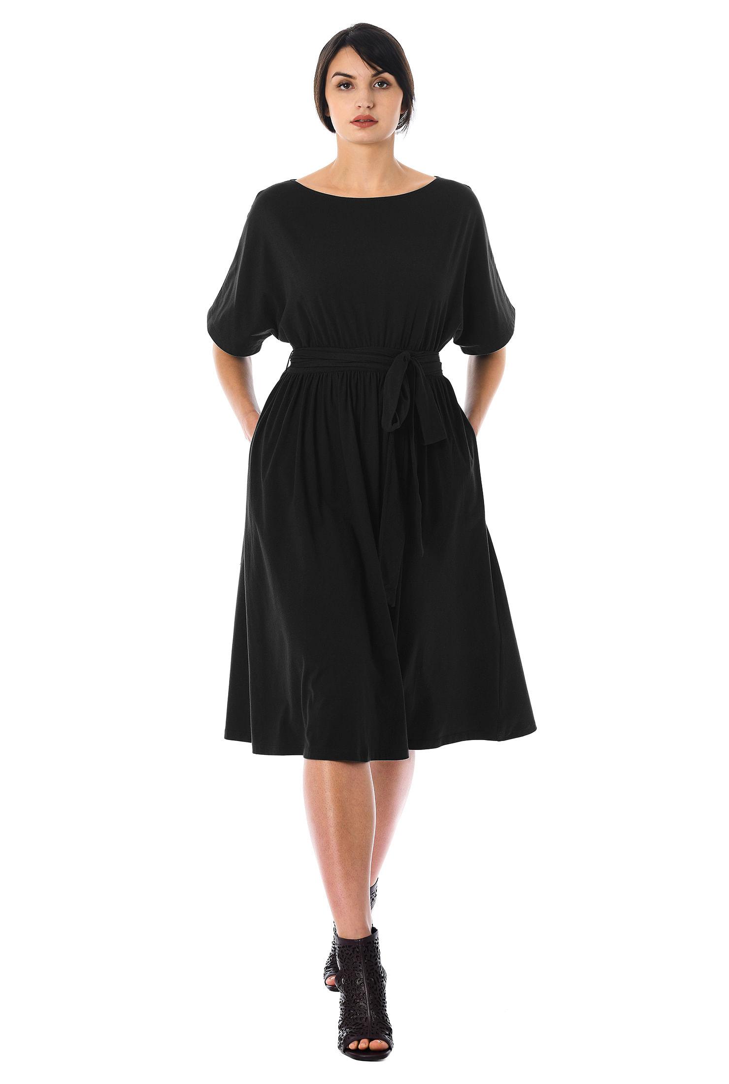 a089905b above elbow length sleeve dresses, below knee length dresses, black  dresses, boat