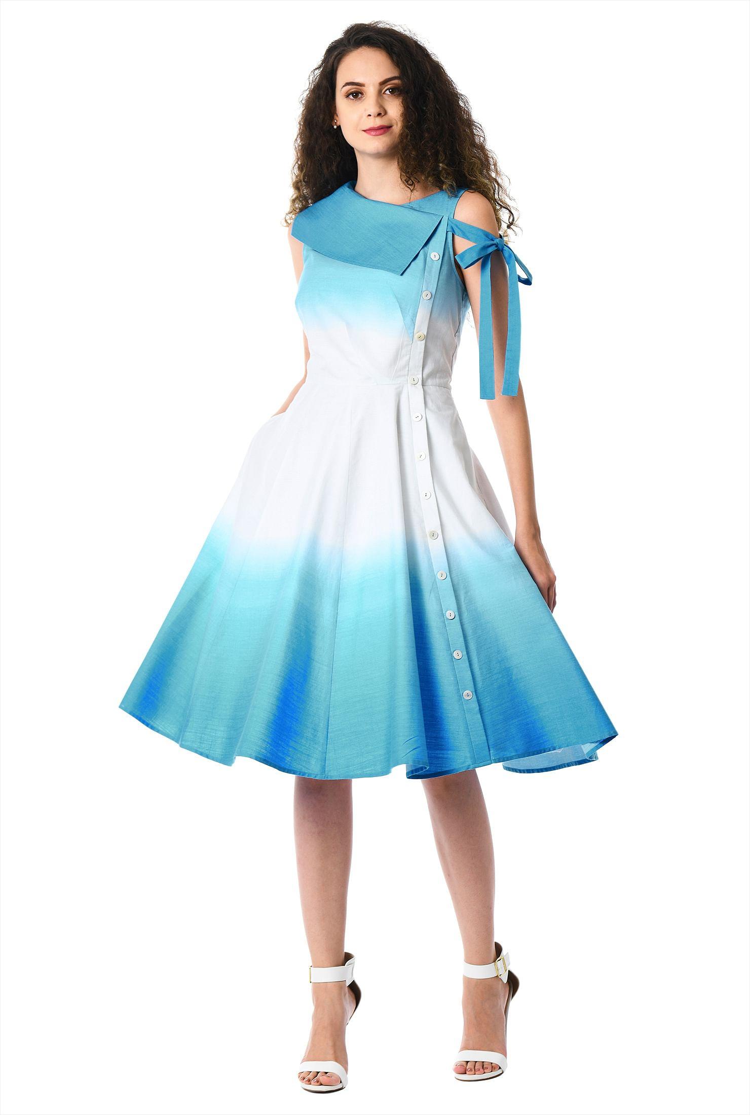 Asymmetric Collar Side Tie Ombre Cotton Dress by Eshakti