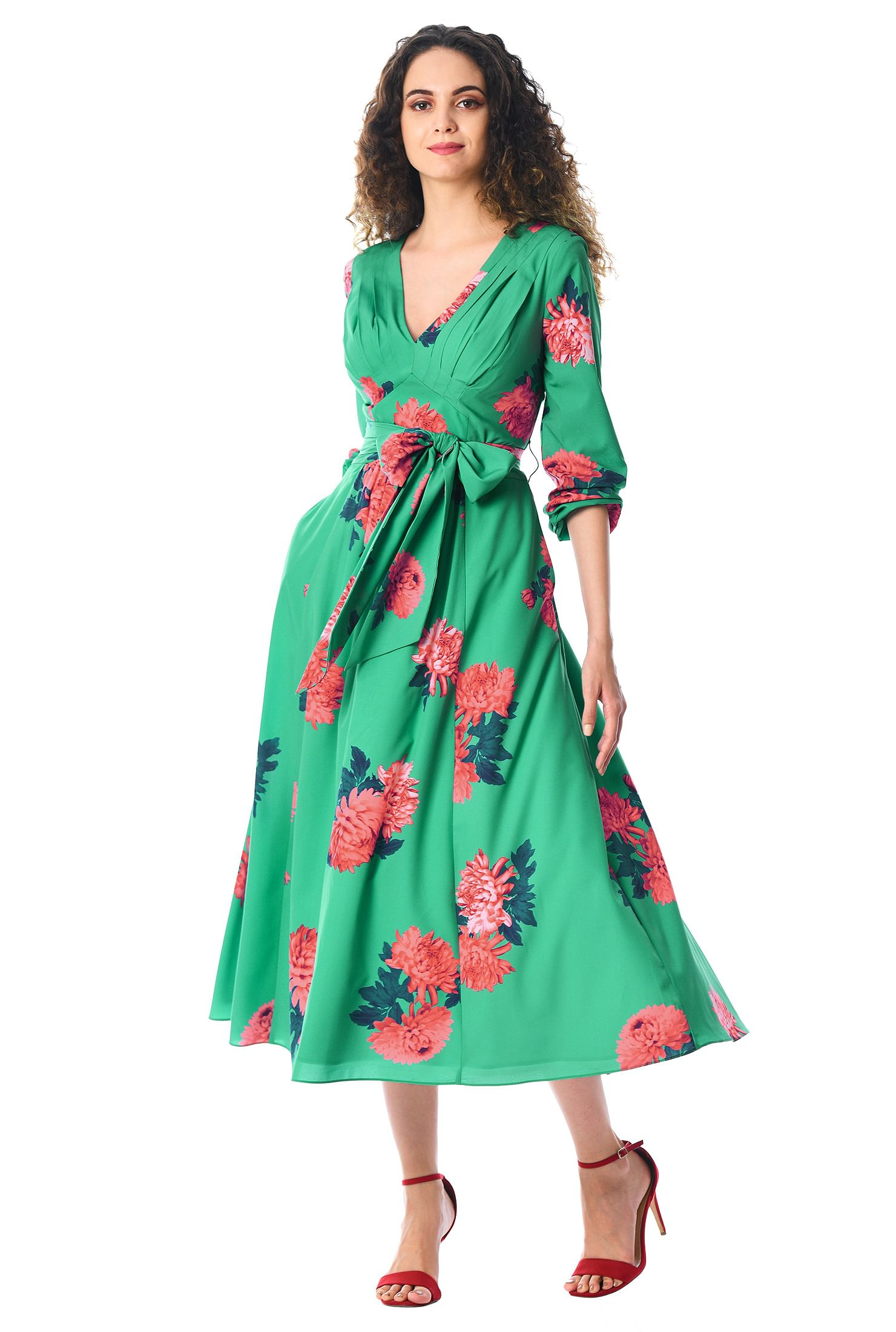 8446298f90 ... Pleated floral print crepe midi dress. Out of Stock. , above ankle  length dresses, back zip dresses, blouson sleeve dresses, empire waist