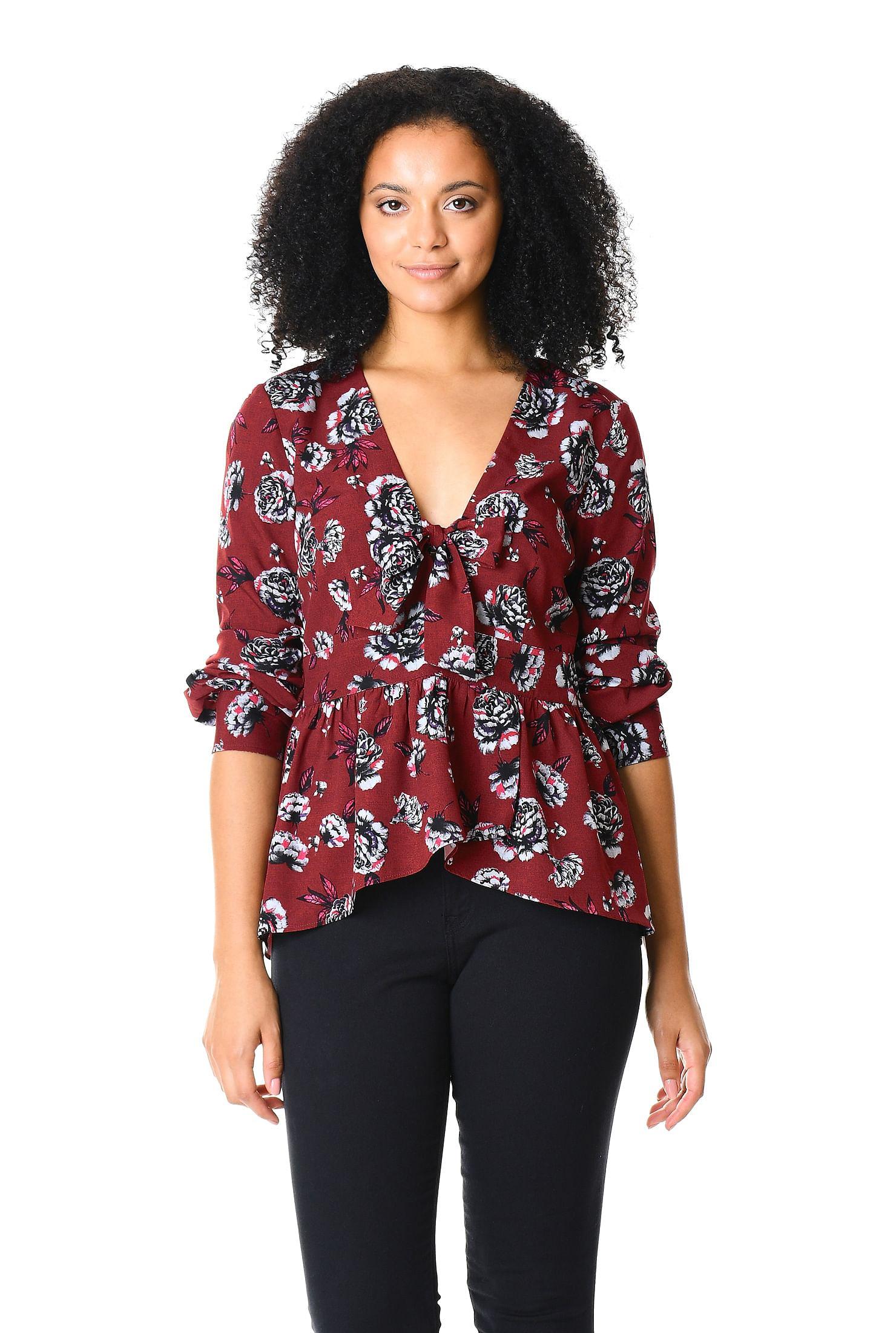 c77b1f8c Floral print crepe tie neck peplum blouse