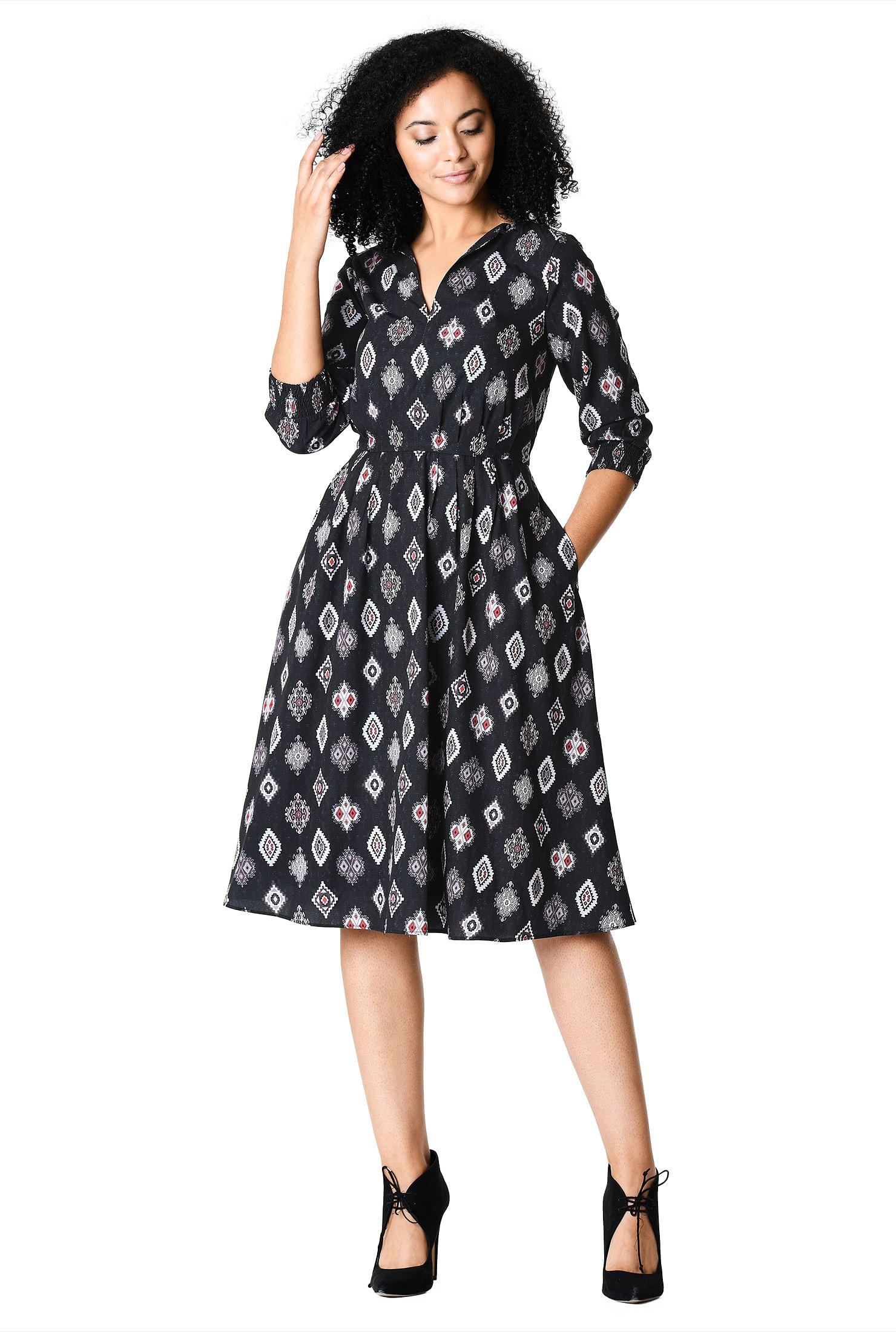 88dd47f08def7 below knee length dresses, boat neck dresses, graphic print dresses,  lightweight Dresses
