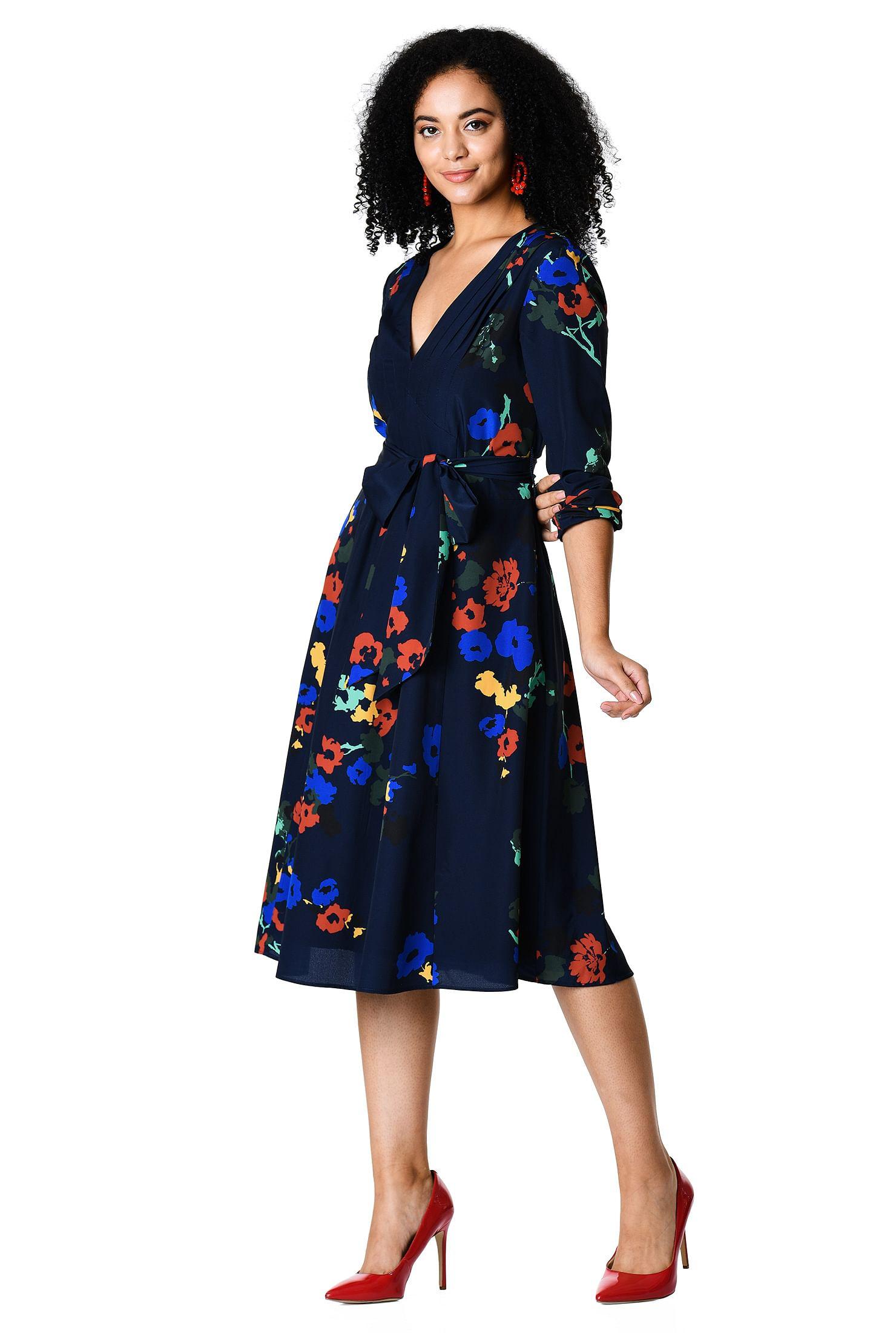 b1c96530db00 back zip dresses, below knee length dresses, blouson sleeve dresses, crepe  dresses