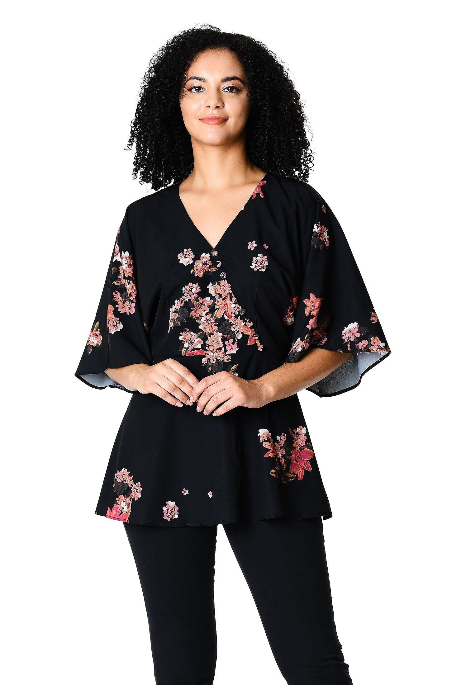 f0cf45165e Kimono sleeve floral print crepe peplum blouse
