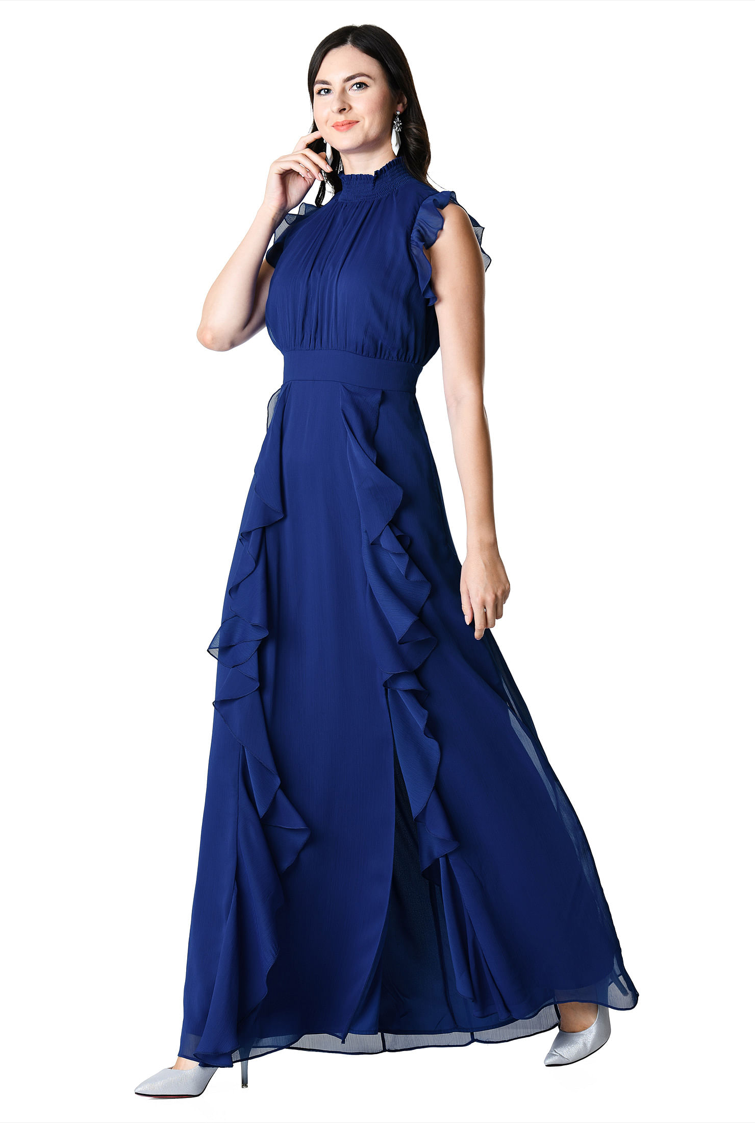 6e715bdcb351 ... Ruffle chiffon smocked maxi dress. Out of Stock. , boho dresses, Fit  and flare dresses, Flutter sleeve dresses, full length with