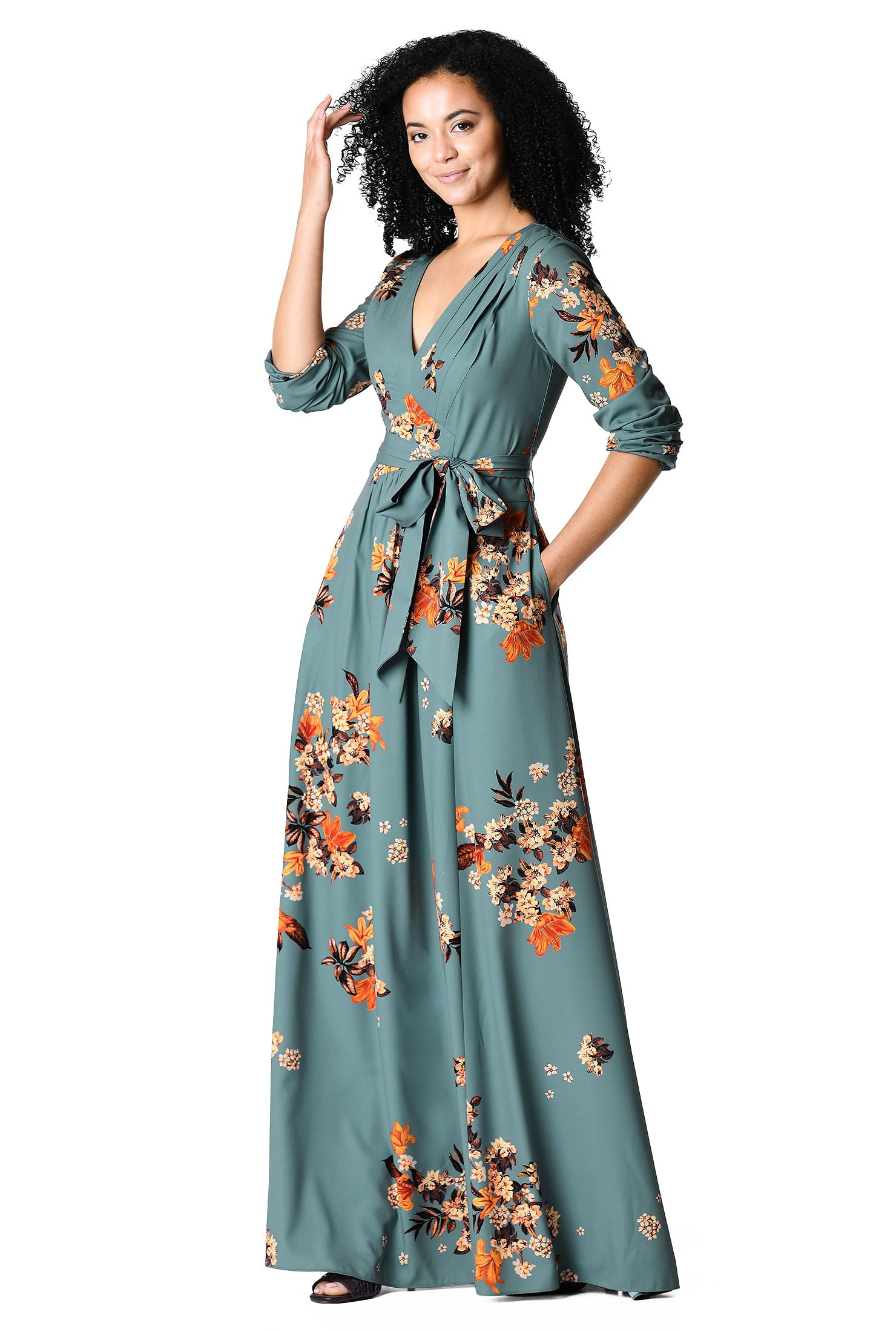 PLEATED FLORAL PRINT CREPE MAXI DRESS