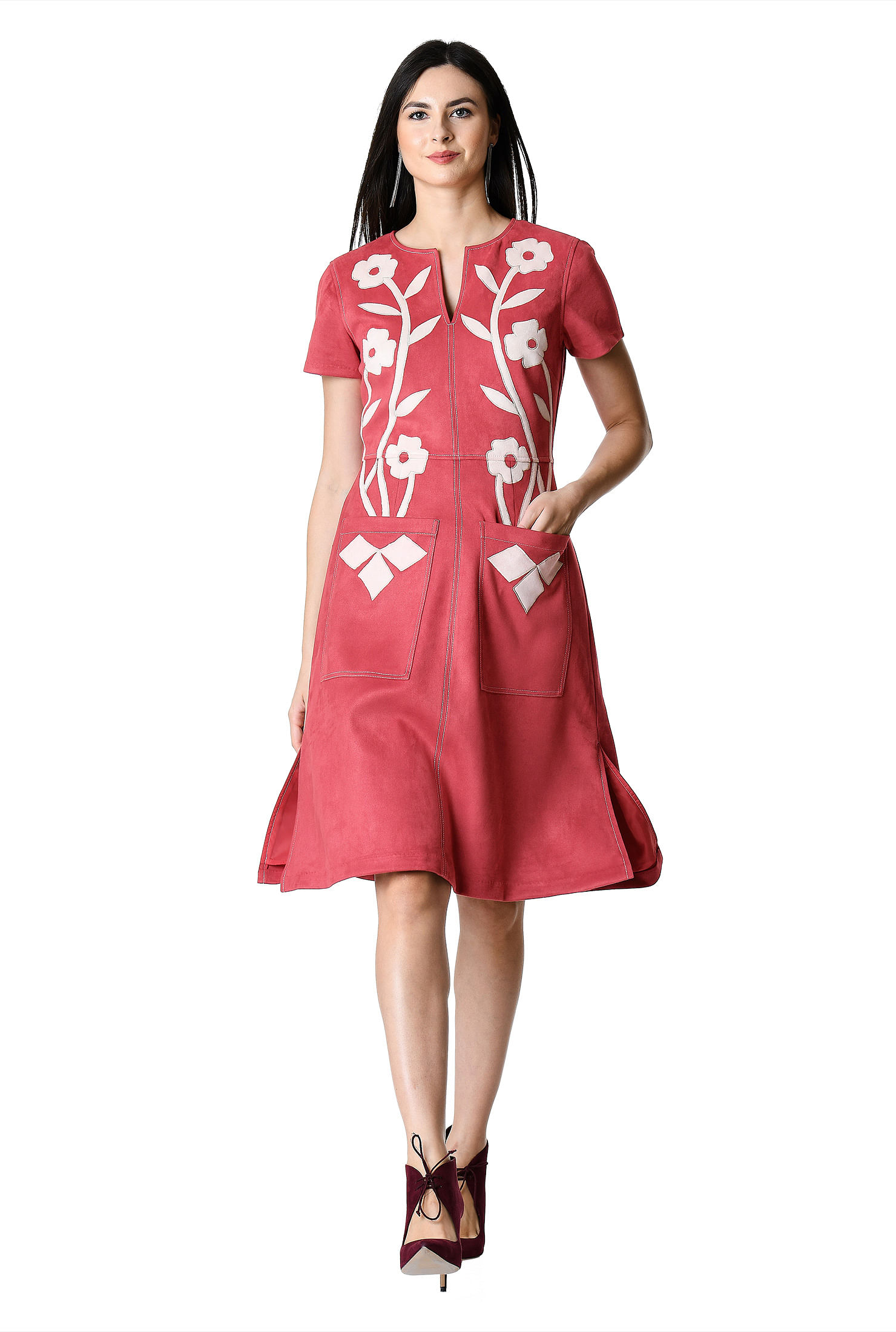 30586743dde316 chic dresses, Distressed red/ecru dresses, fit-and-flare dresses