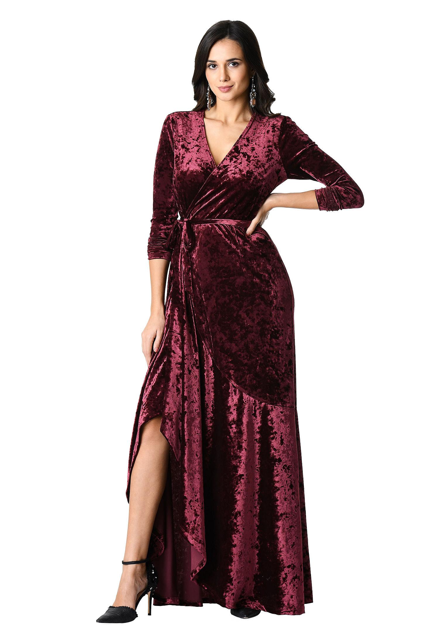 5cd47eb7f4 ... velvet maxi wrap dress. Out of Stock.