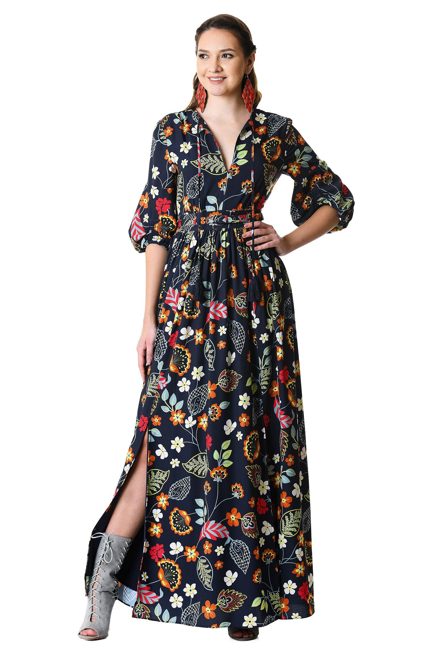 8dd8d9543 floral print dresses, Full Length Dresses, lightweight Dresses, machine  wash dresses,