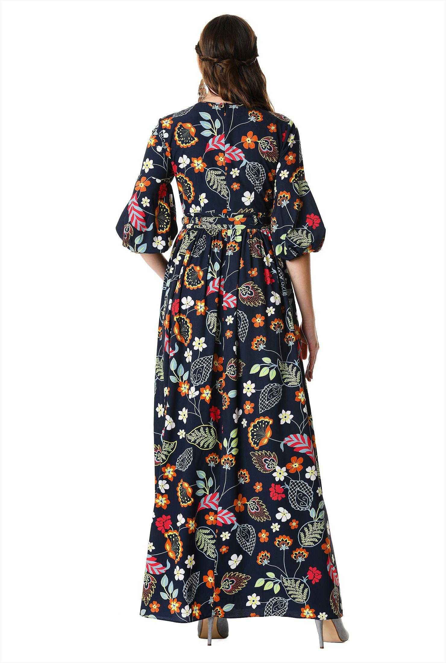 dcb3daaafd2e Fun floral print tassel tie crepe maxi dress