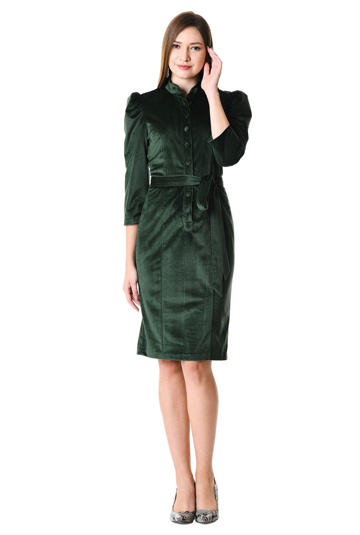 5c69ef2ad52e7 back vent dresses, bottle green dresses, corduroy dresses, knee length  dresses,