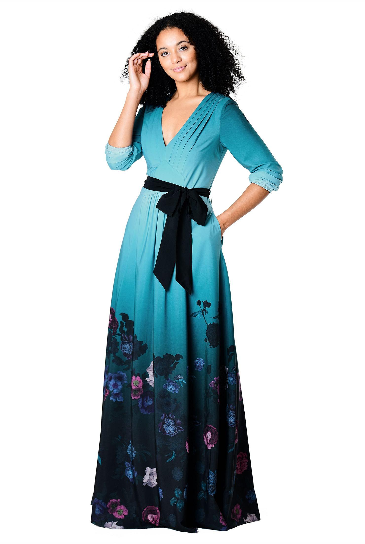 16601ce5e6e ... Pleated floral ombre print crepe maxi dress. Out of Stock. , back zip  dresses, blouson sleeve dresses, crepe dresses, empire dresses, empire