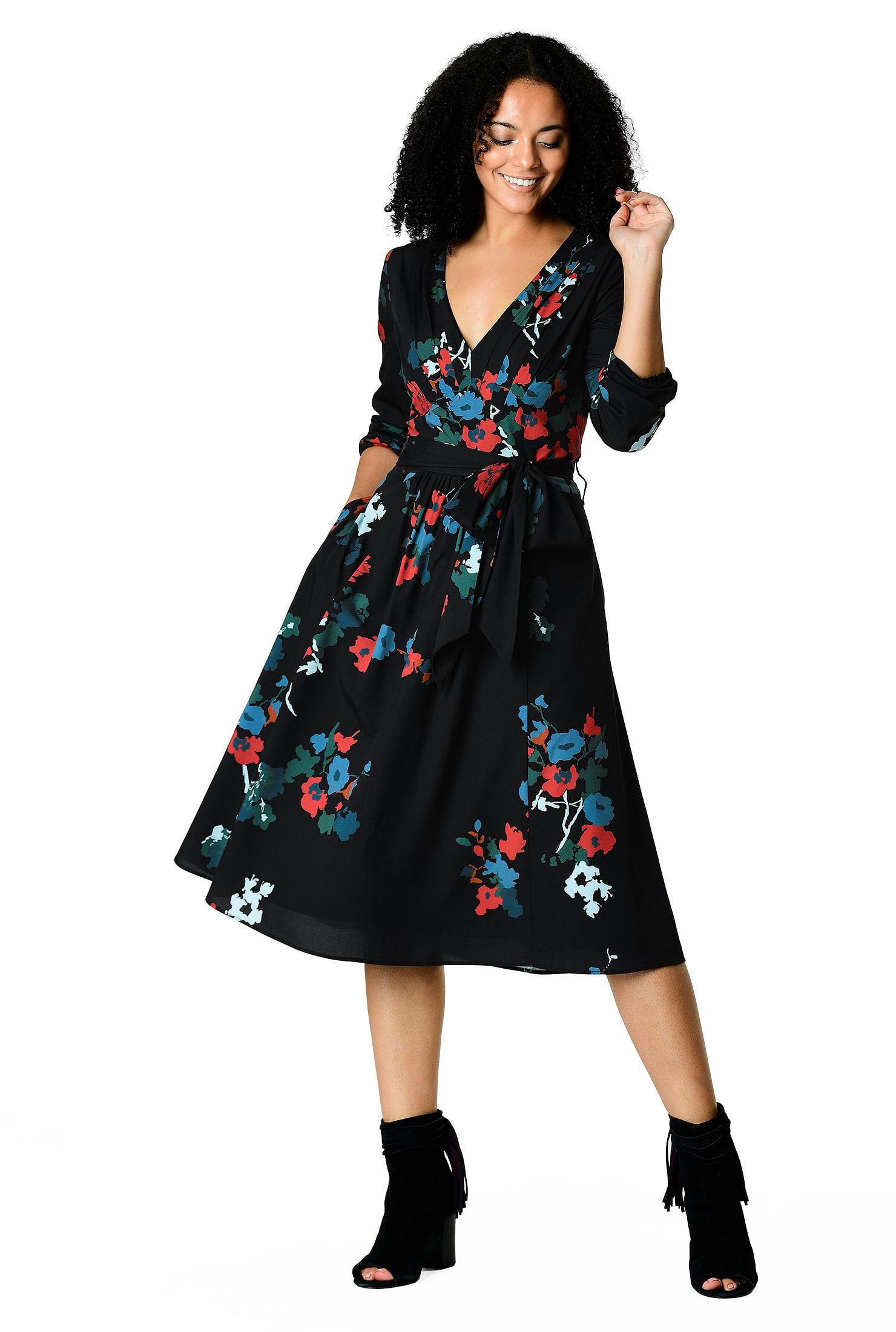 e0880999712 Black Floral Midi Dress Long Sleeve