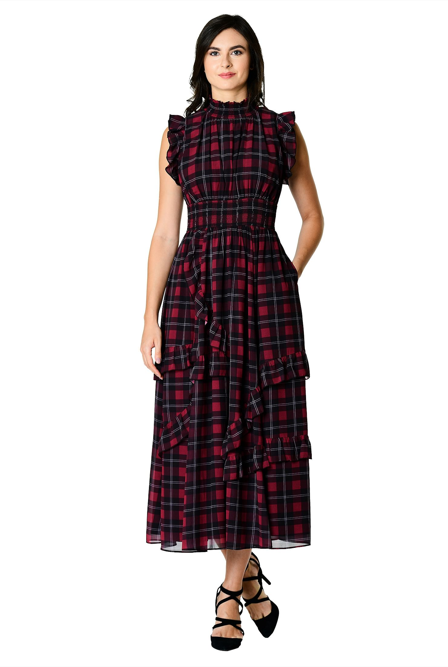 987203e2fee61 above ankle length dresses, Check Print Dresses, Fit and flare dresses,  Flutter