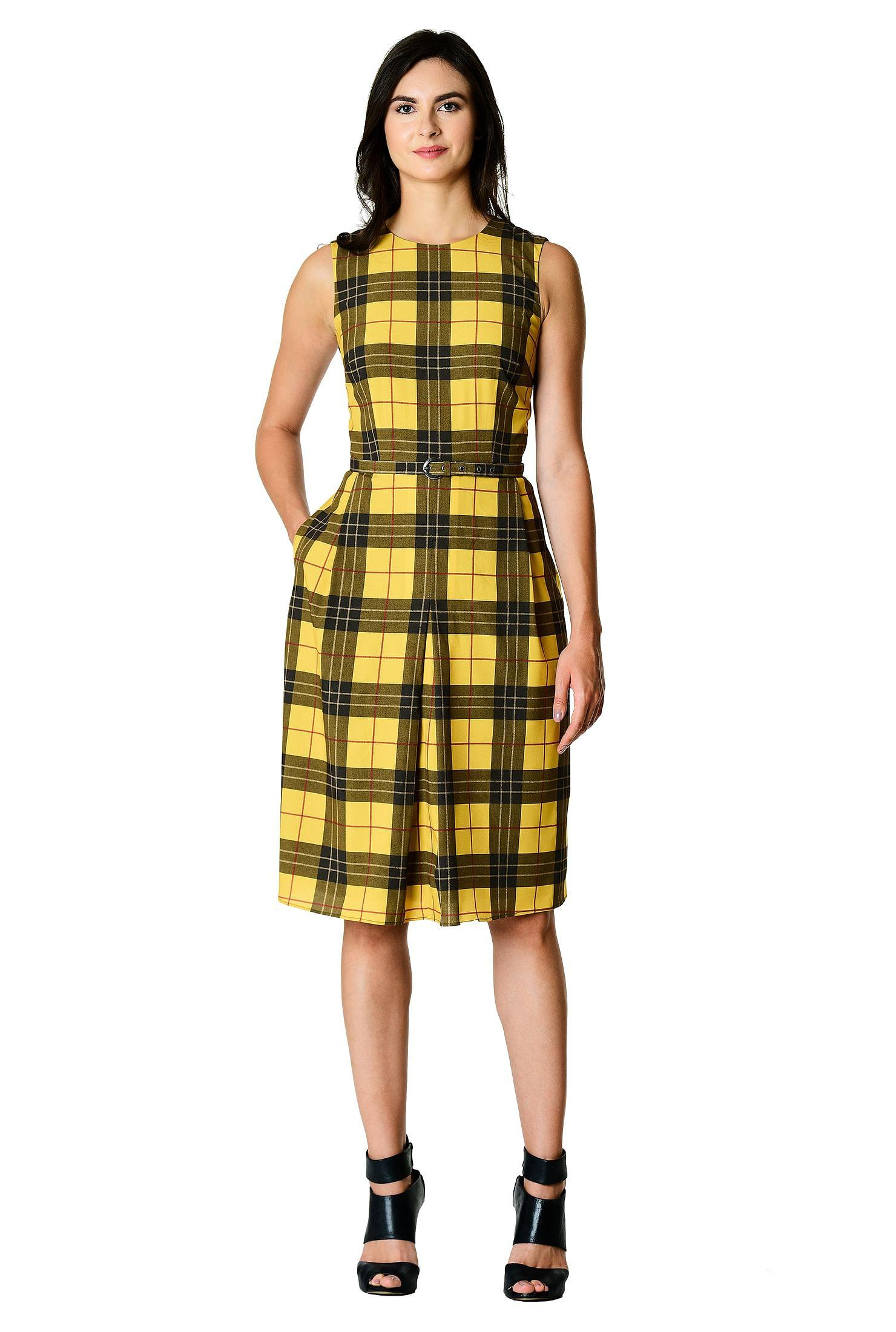 ed9a88e85392d back zip dresses, below knee length dresses, Check Print Dresses, fit-