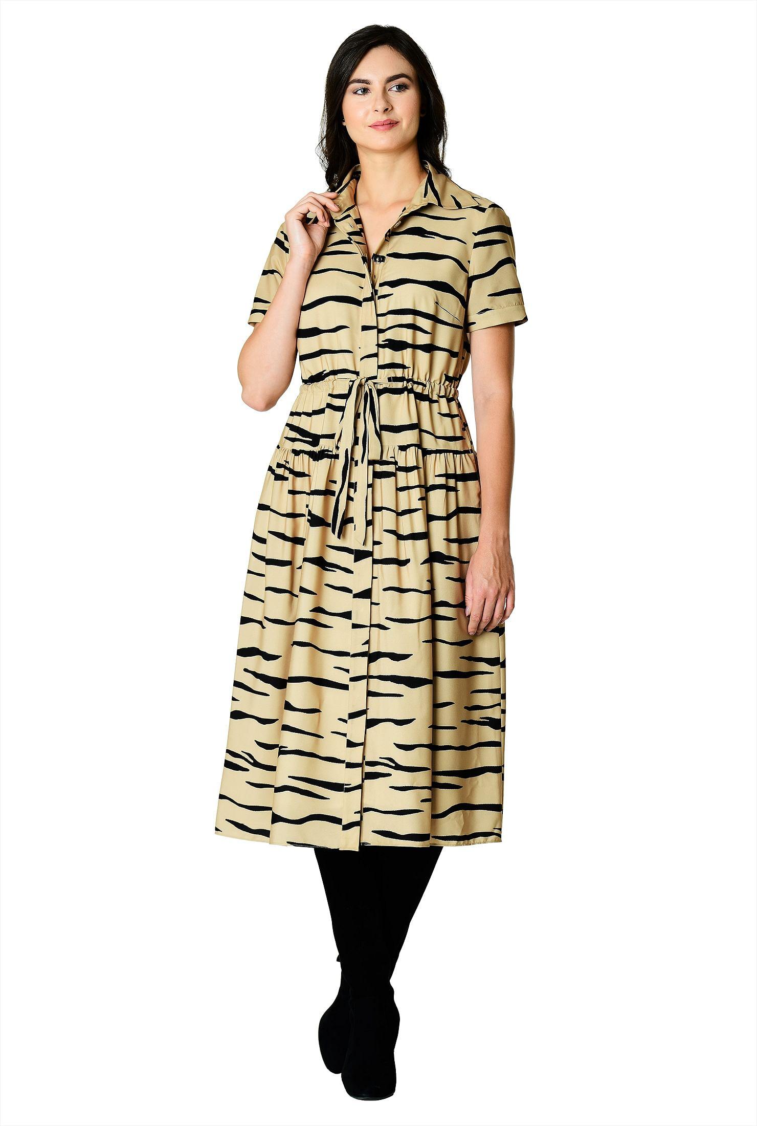 e5a3394fad3c7 beige/black dresses, day dresses, drawstring dresses, Front hidden button  dresses