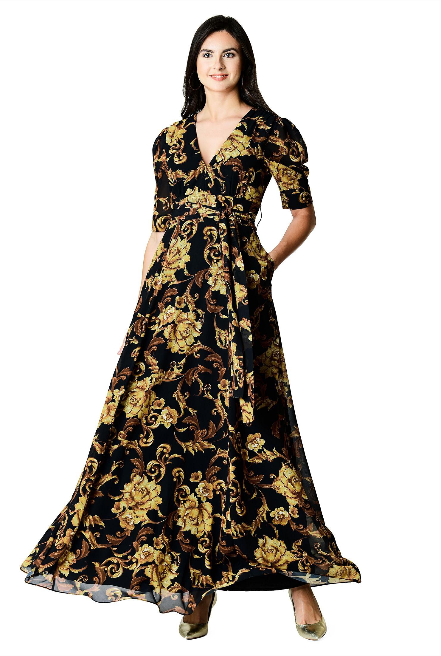 224a236736 black/brown/gold multi dresses, digital print dresses, Elbow length dresses