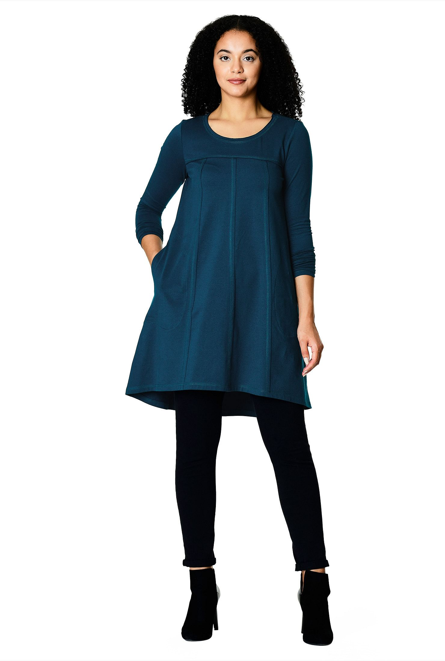 8713cb8a38f banded high scoop neck tops, High-low hem tops, long sleeves tops