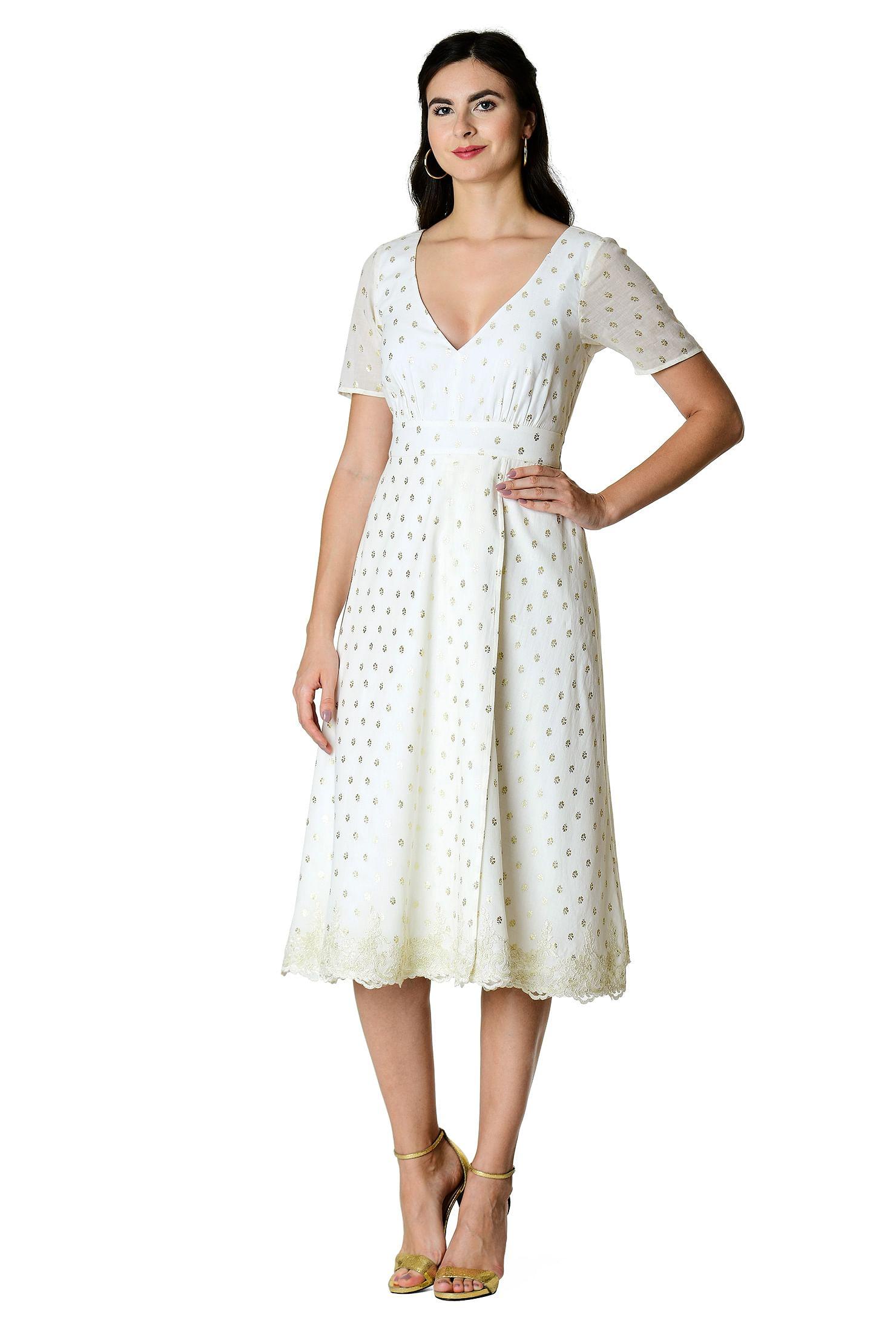 Scallop Lace Trim Leaf Print Cotton Dress