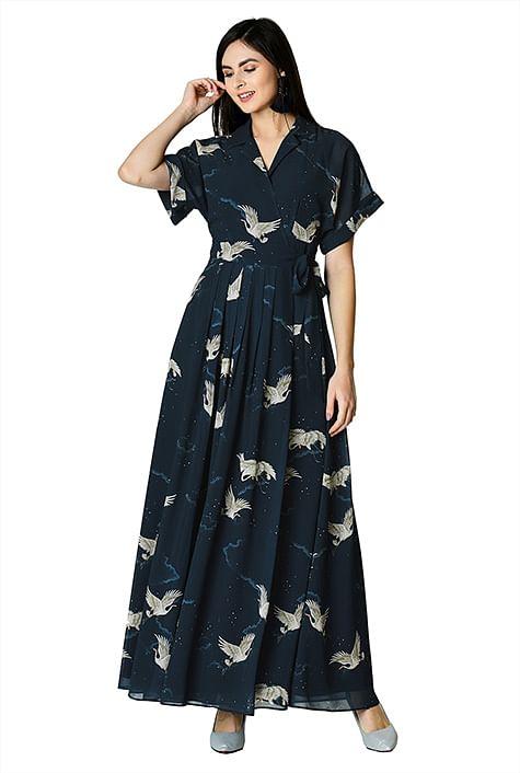 e8a978f9673 Flying bird print georgette kimono wrap dress