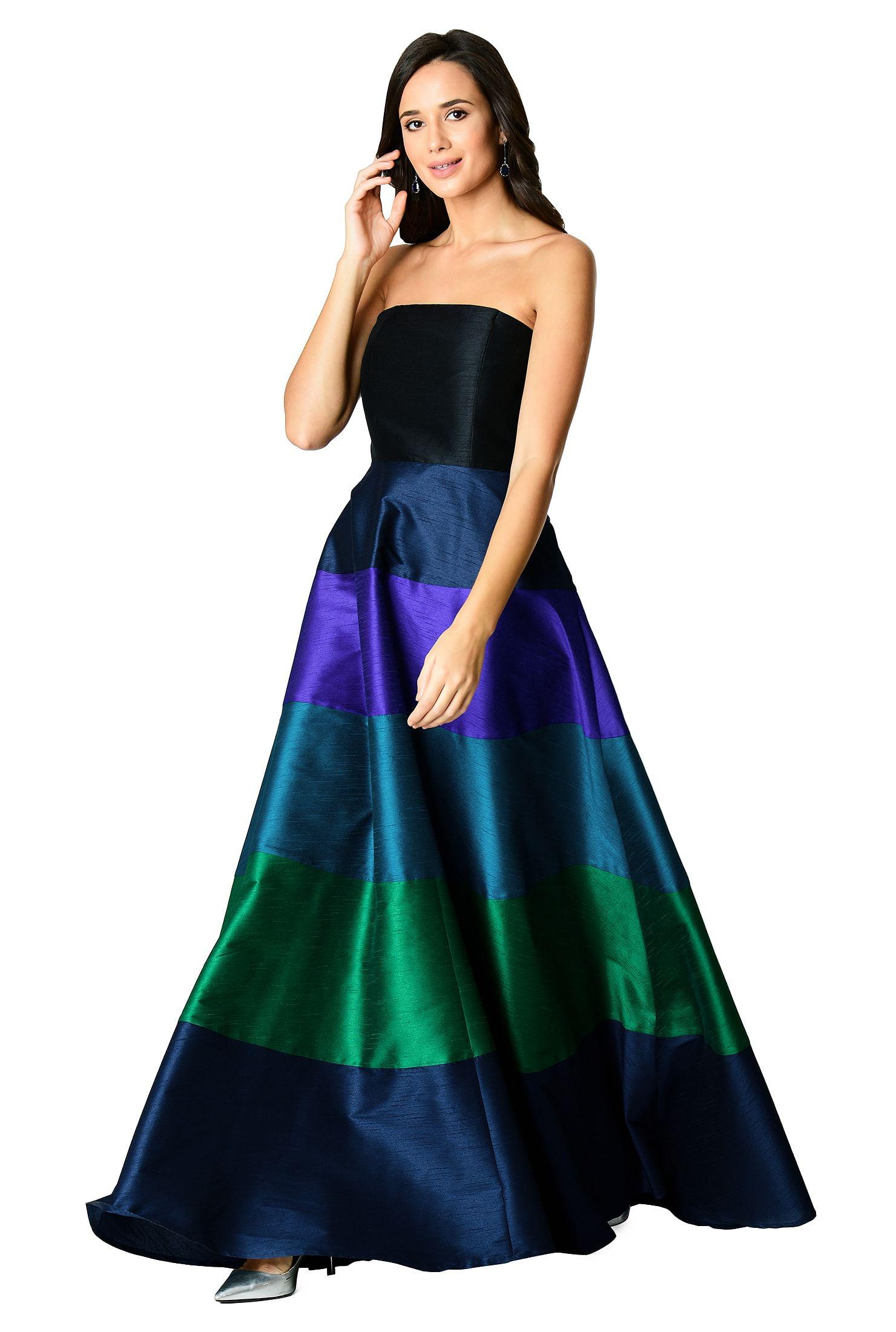 a3bf163e4e66 black/navy/green multi dresses, Colorblock Dresses, feminine dresses, Full