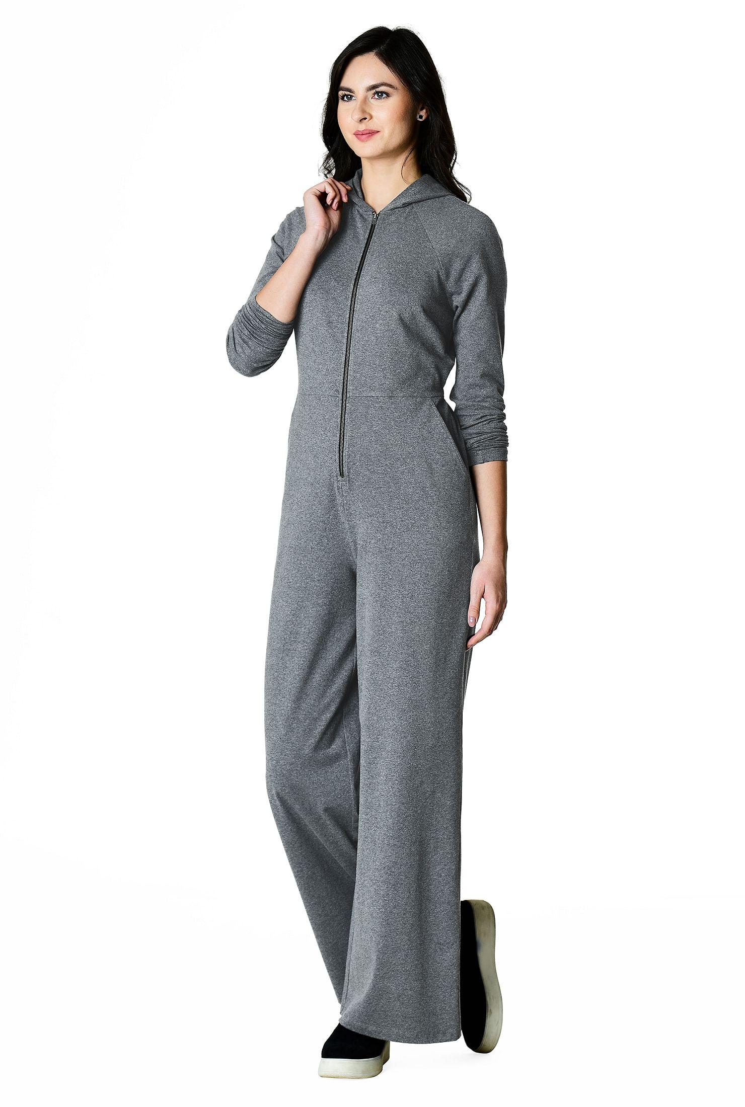 Zip front cotton knit hoodie jumpsuit