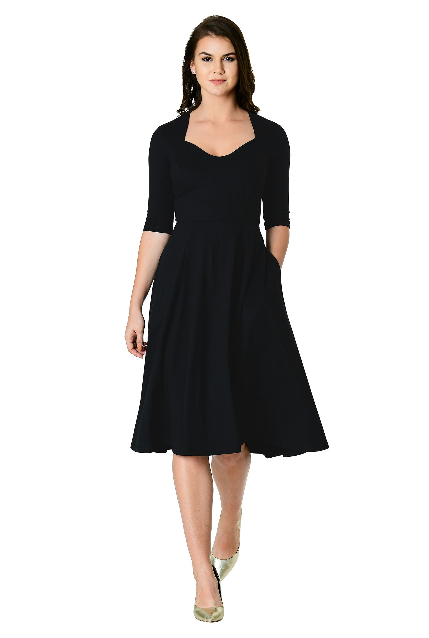0d49b814a7b2 below knee length dresses, black dresses, cotton/spandex Dresses, day  dresses