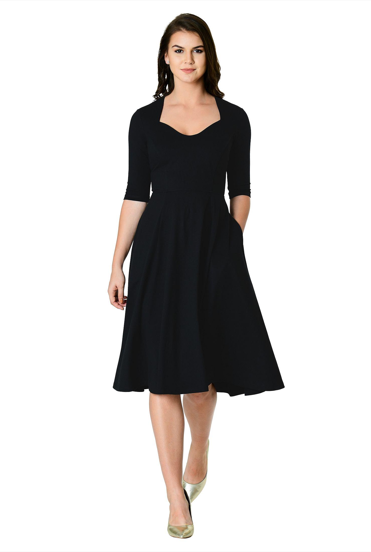 b28f60a7d64350 below knee length dresses, black dresses, cotton/spandex Dresses, day  dresses